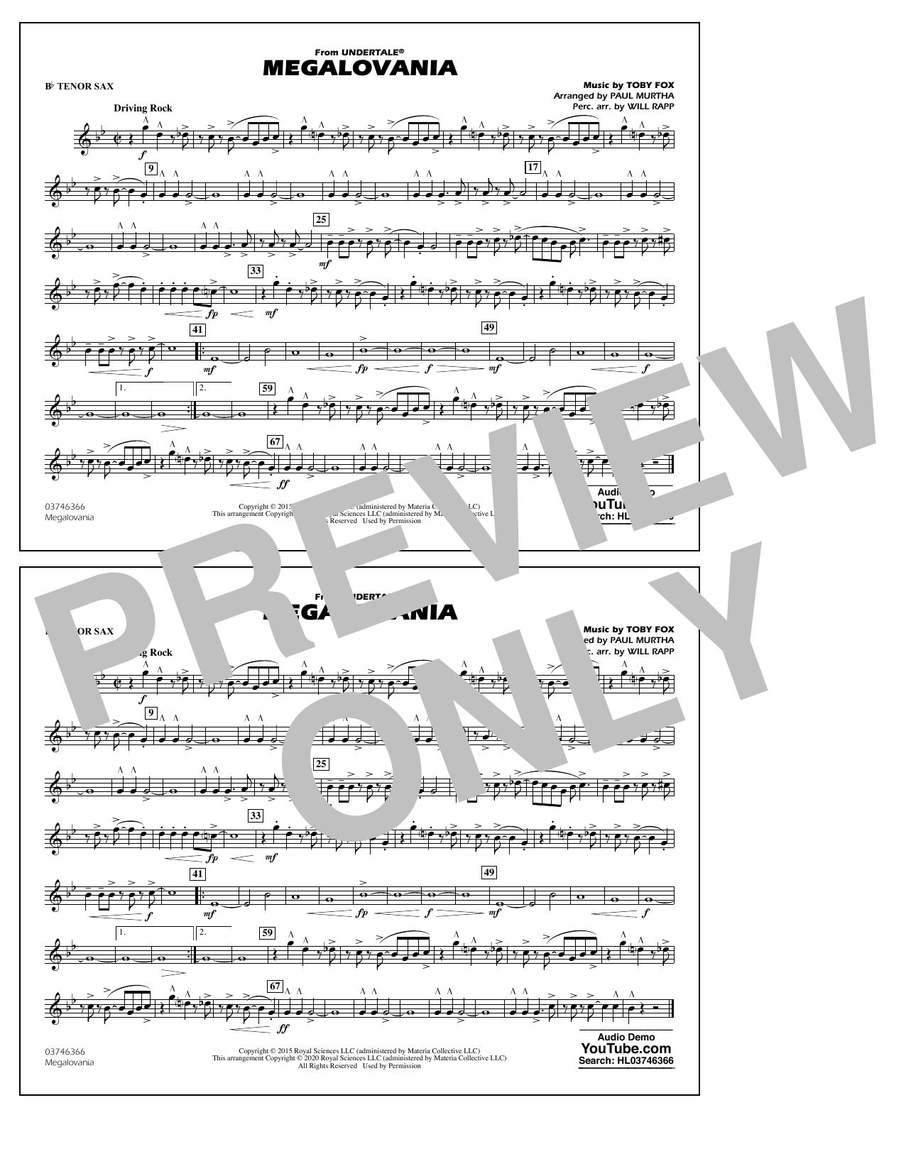 Megalovania (from Undertale) (arr. Paul Murtha) - Bb Tenor Sax Sheet Music