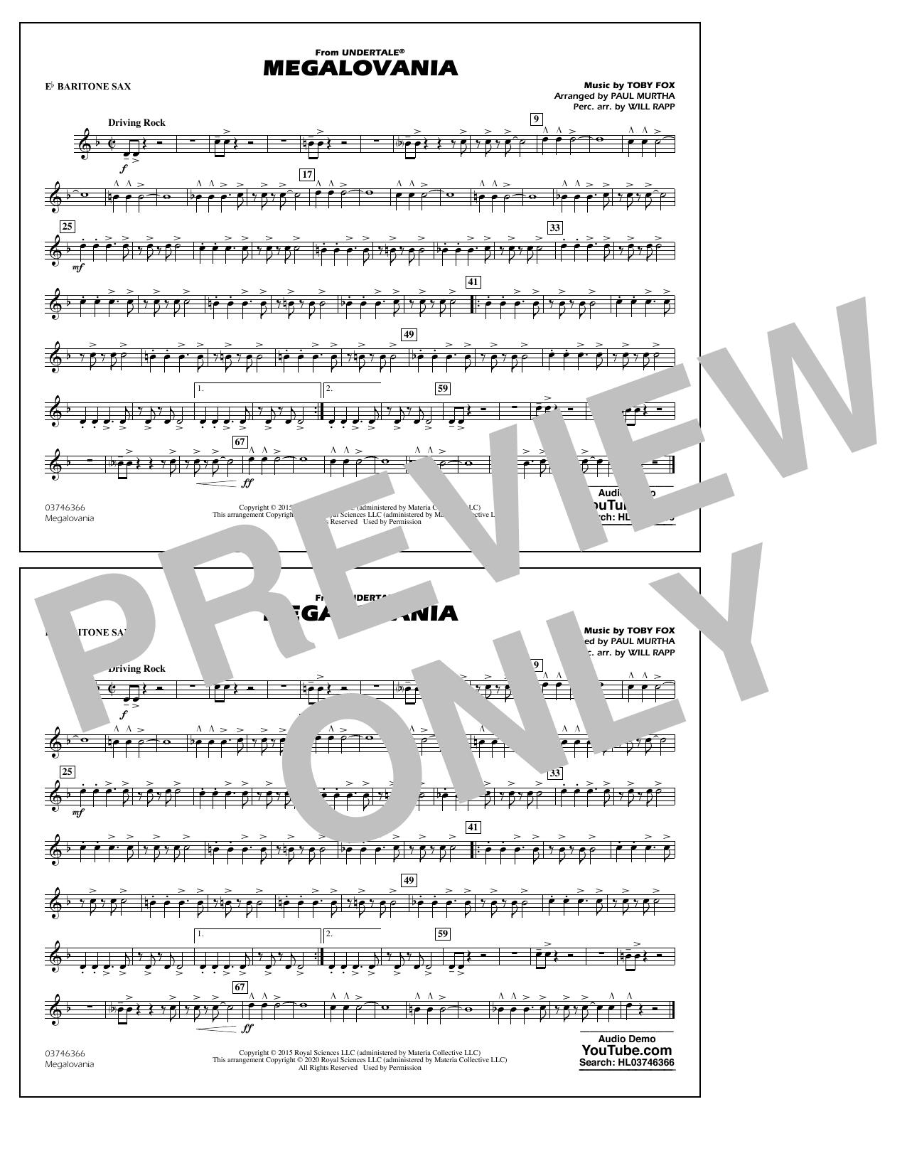 Megalovania (from Undertale) (arr. Paul Murtha) - Eb Baritone Sax Sheet Music