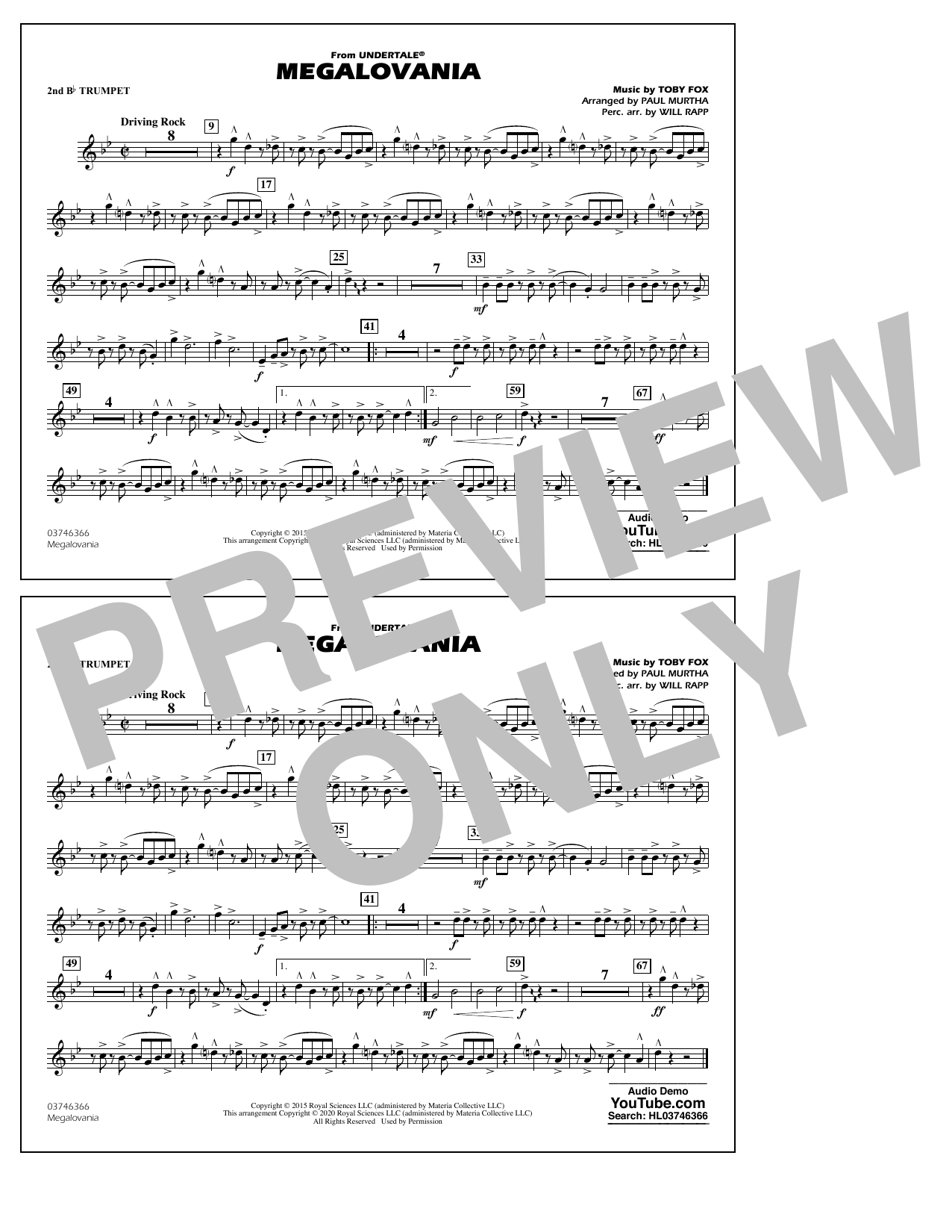Megalovania (from Undertale) (arr. Paul Murtha) - 2nd Bb Trumpet Sheet Music