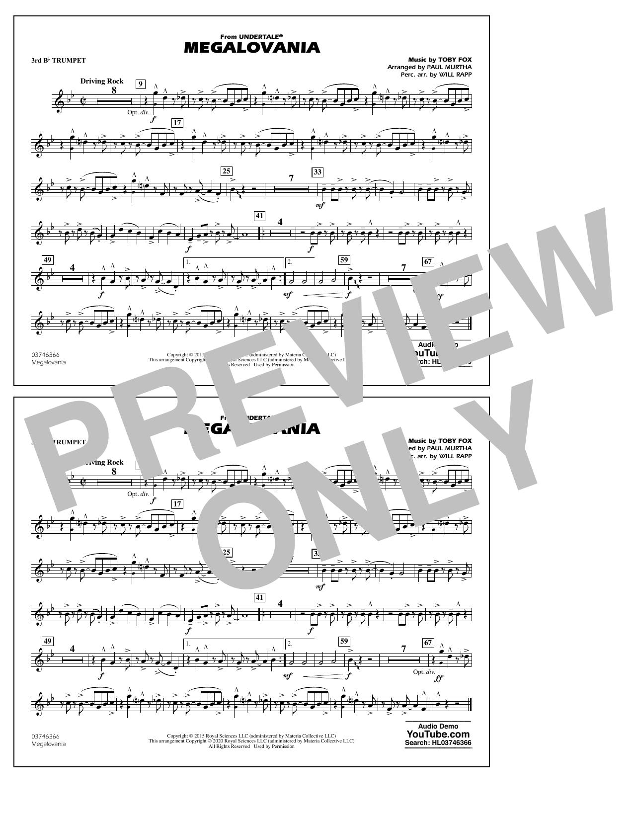 Megalovania (from Undertale) (arr. Paul Murtha) - 3rd Bb Trumpet Sheet Music