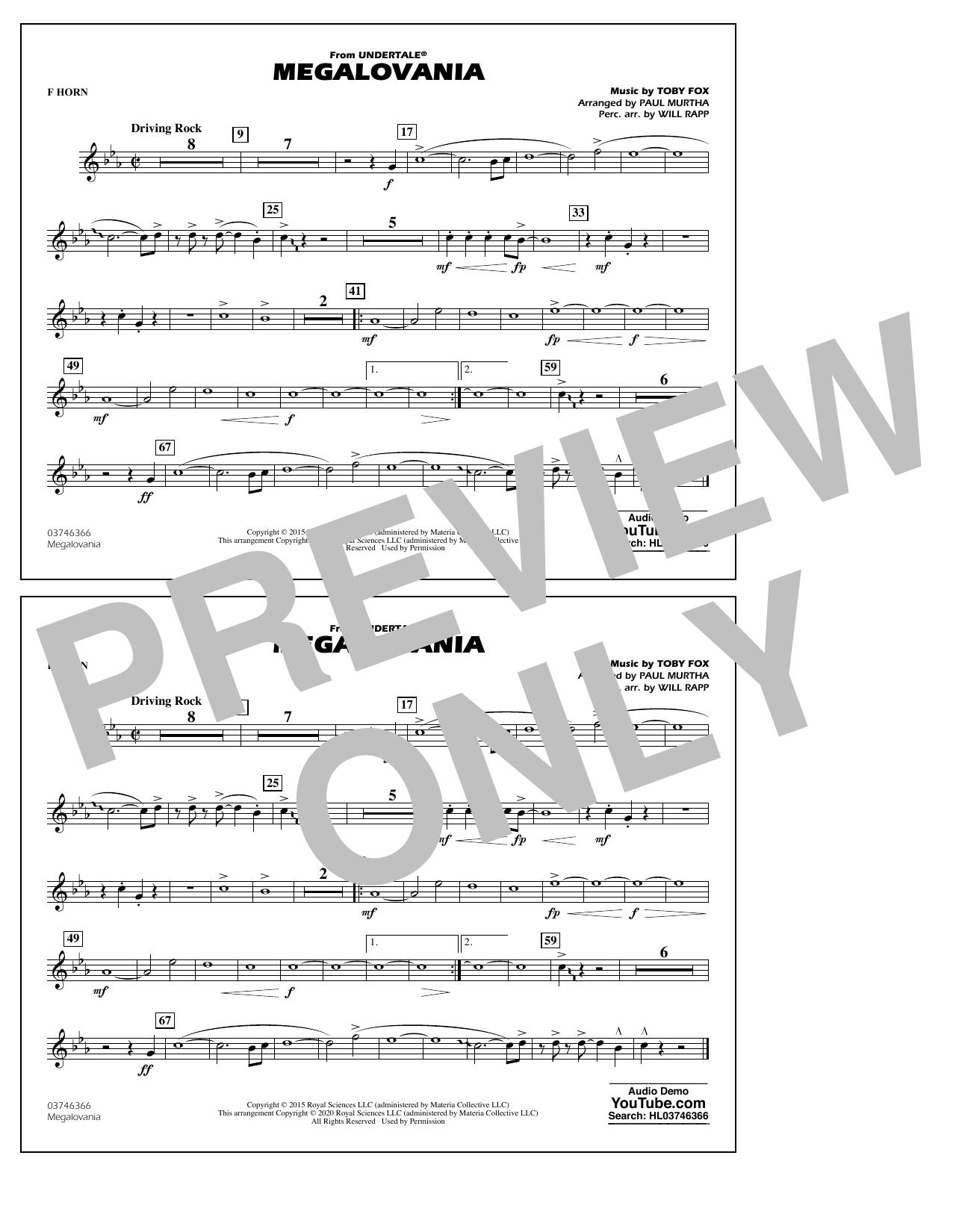 Megalovania (from Undertale) (arr. Paul Murtha) - F Horn Sheet Music
