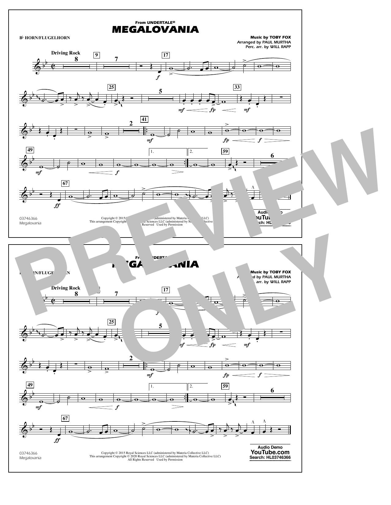 Megalovania (from Undertale) (arr. Paul Murtha) - Bb Horn/Flugelhorn Sheet Music