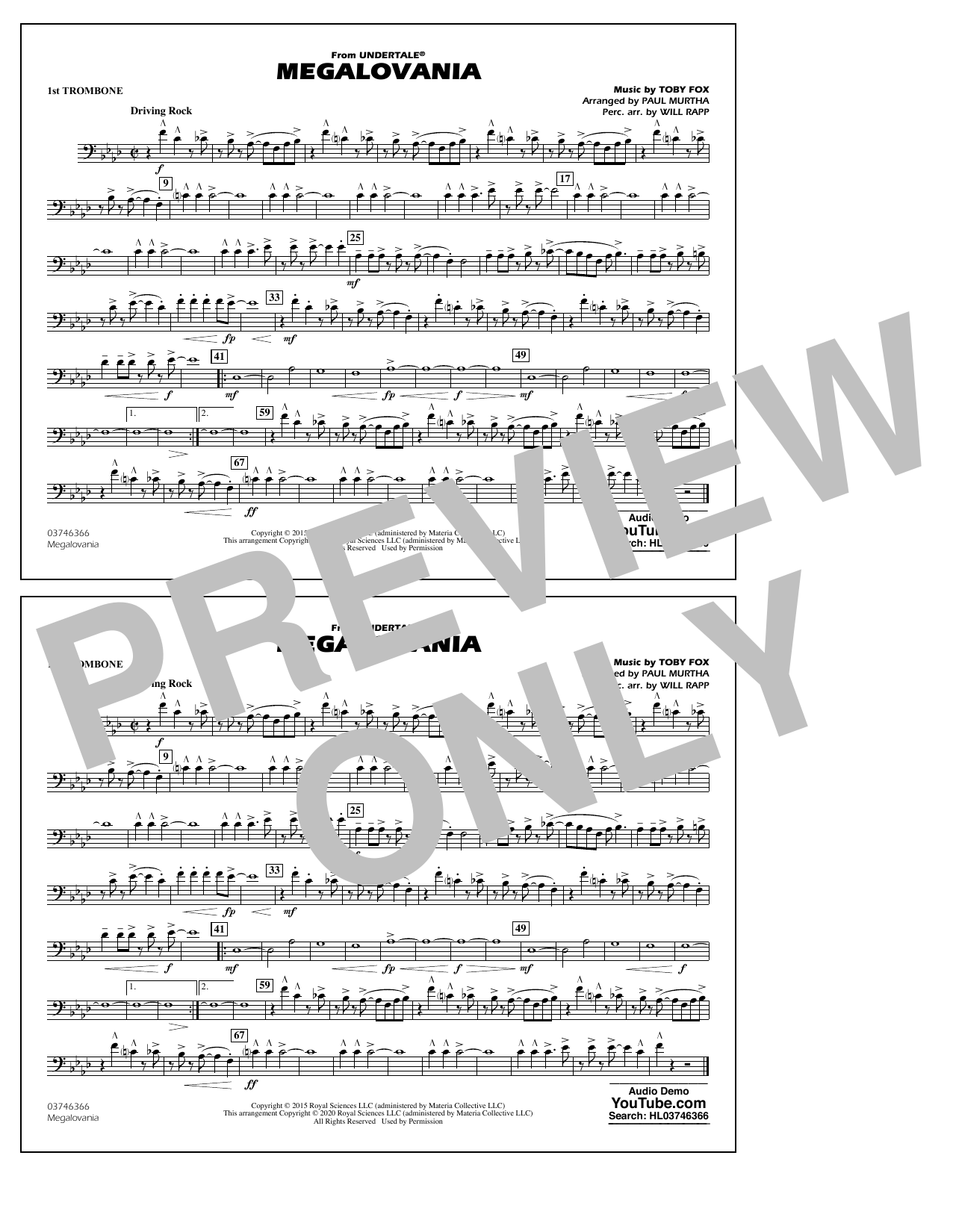 Megalovania (from Undertale) (arr. Paul Murtha) - 1st Trombone Sheet Music