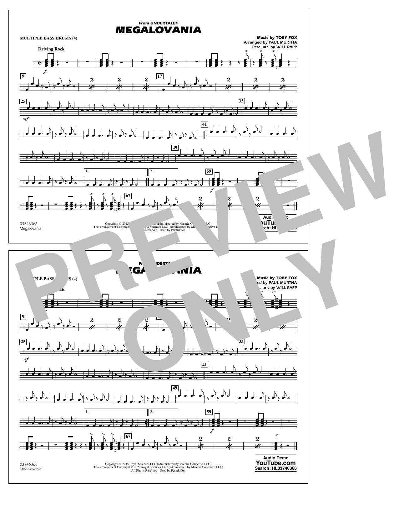 Megalovania (from Undertale) (arr. Paul Murtha) - Multiple Bass Drums Sheet Music