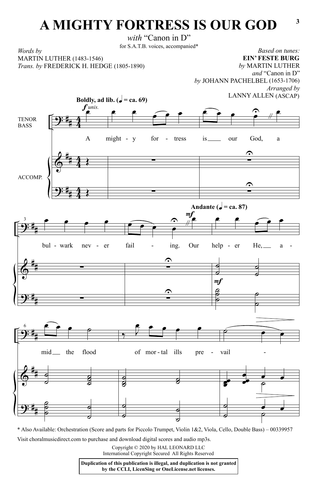 """A Mighty Fortress Is Our God (with """"Canon in D"""") (SATB Choir)"""