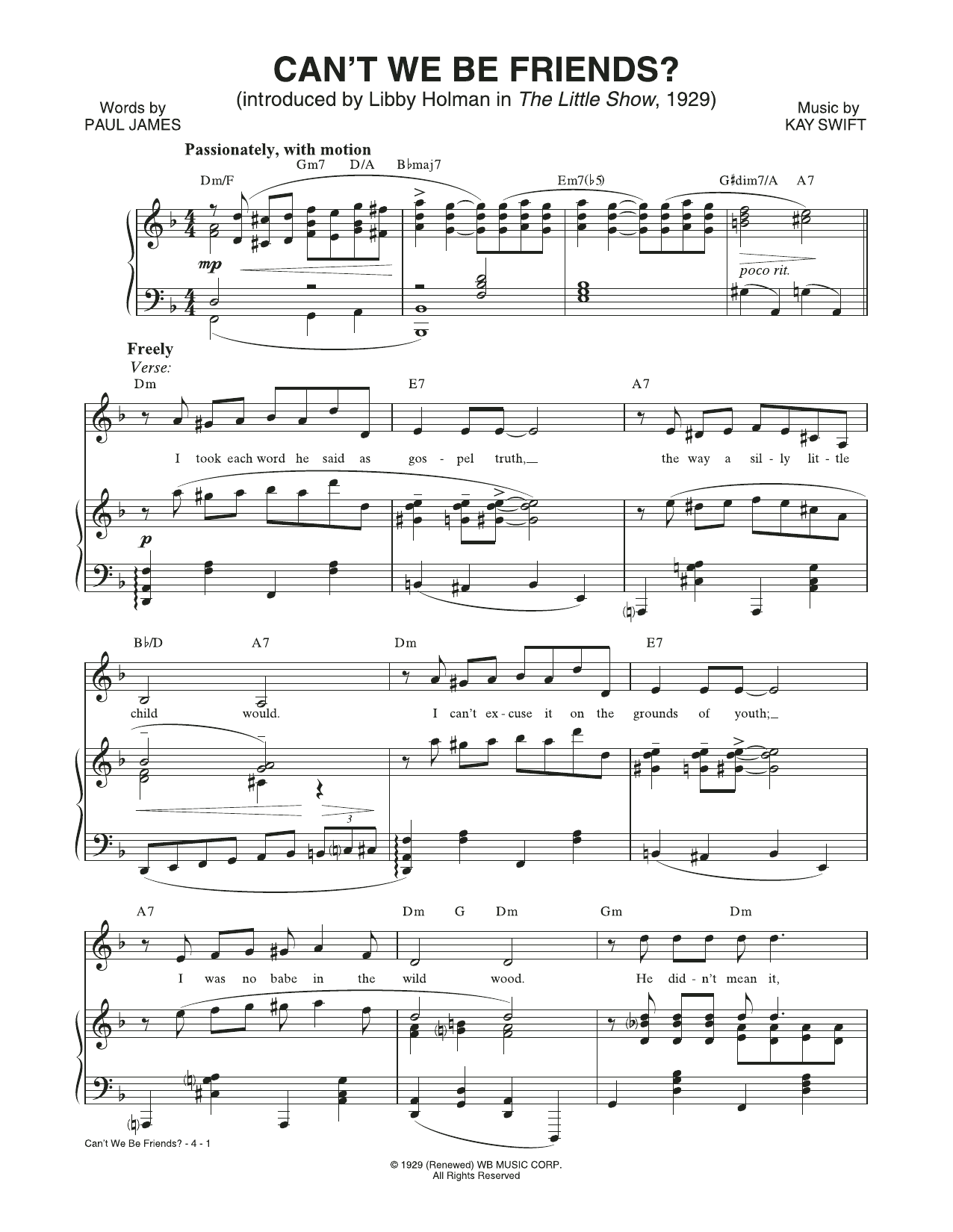 Can't We Be Friends (from The Little Show) Sheet Music