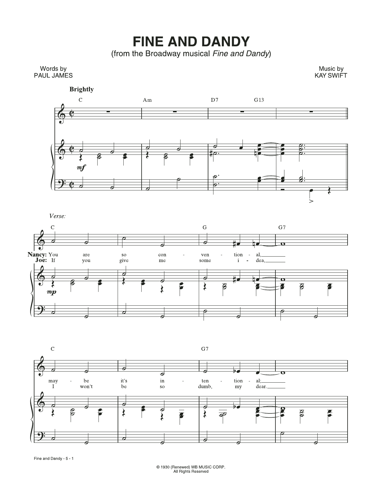 Fine And Dandy (from the musical Fine and Dandy) (Piano & Vocal)