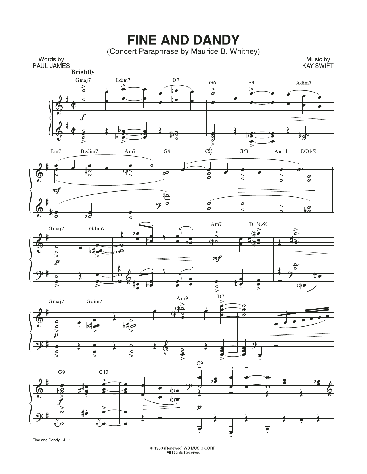 Fine And Dandy (Concert Paraphrase by Maurice B. Whitney) (from the musical Fine and Dandy) (Piano & Vocal)