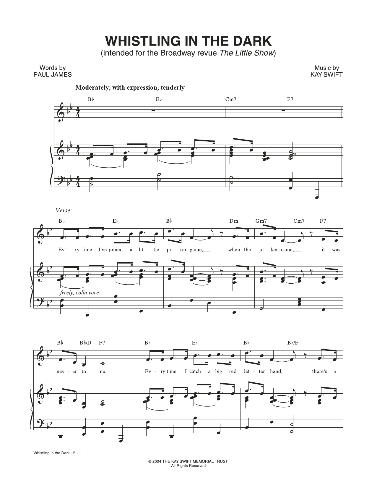 Whistling In The Dark (from The Little Show) Sheet Music