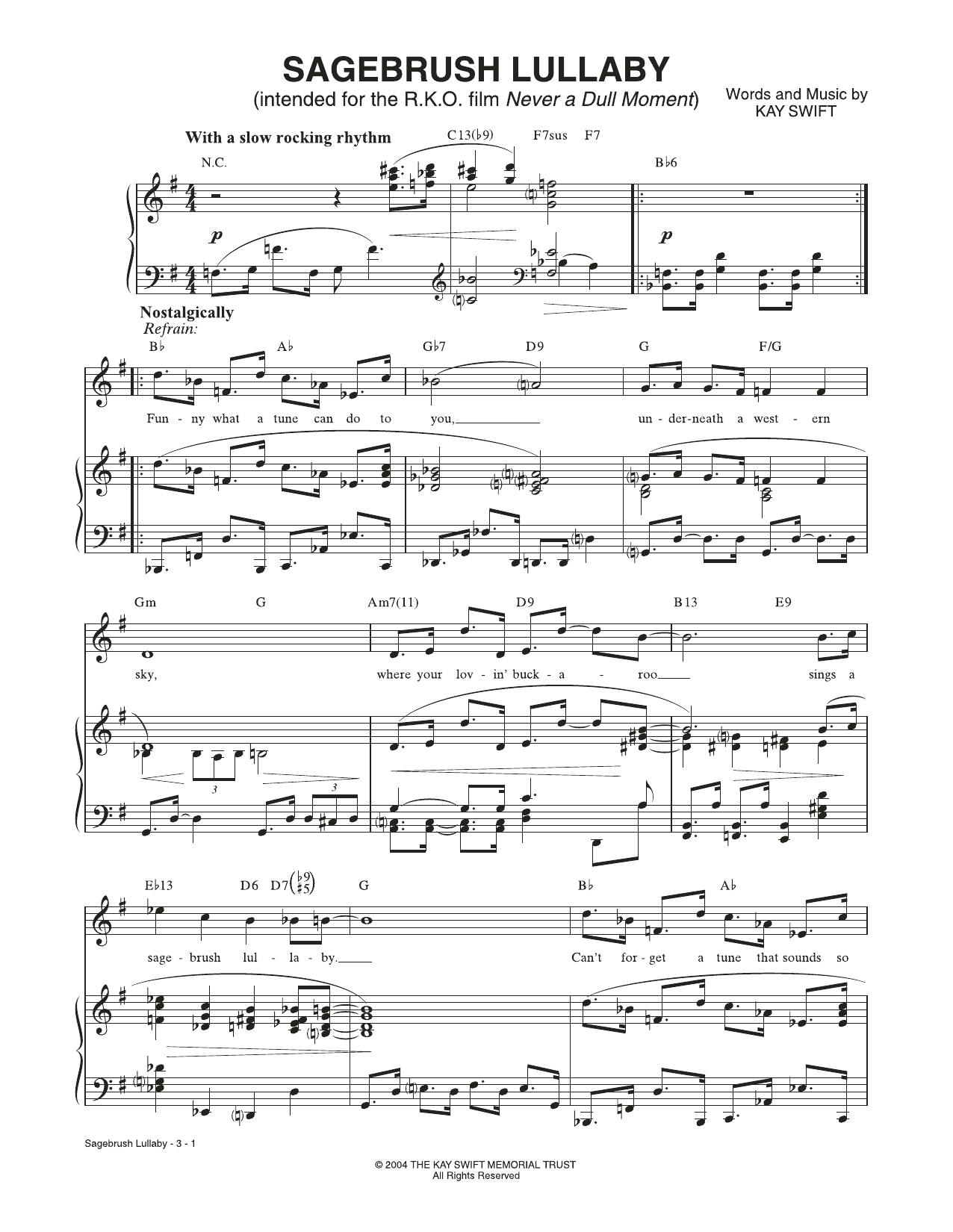 Sagebrush Lullaby (from Never a Dull Moment) (Piano & Vocal)