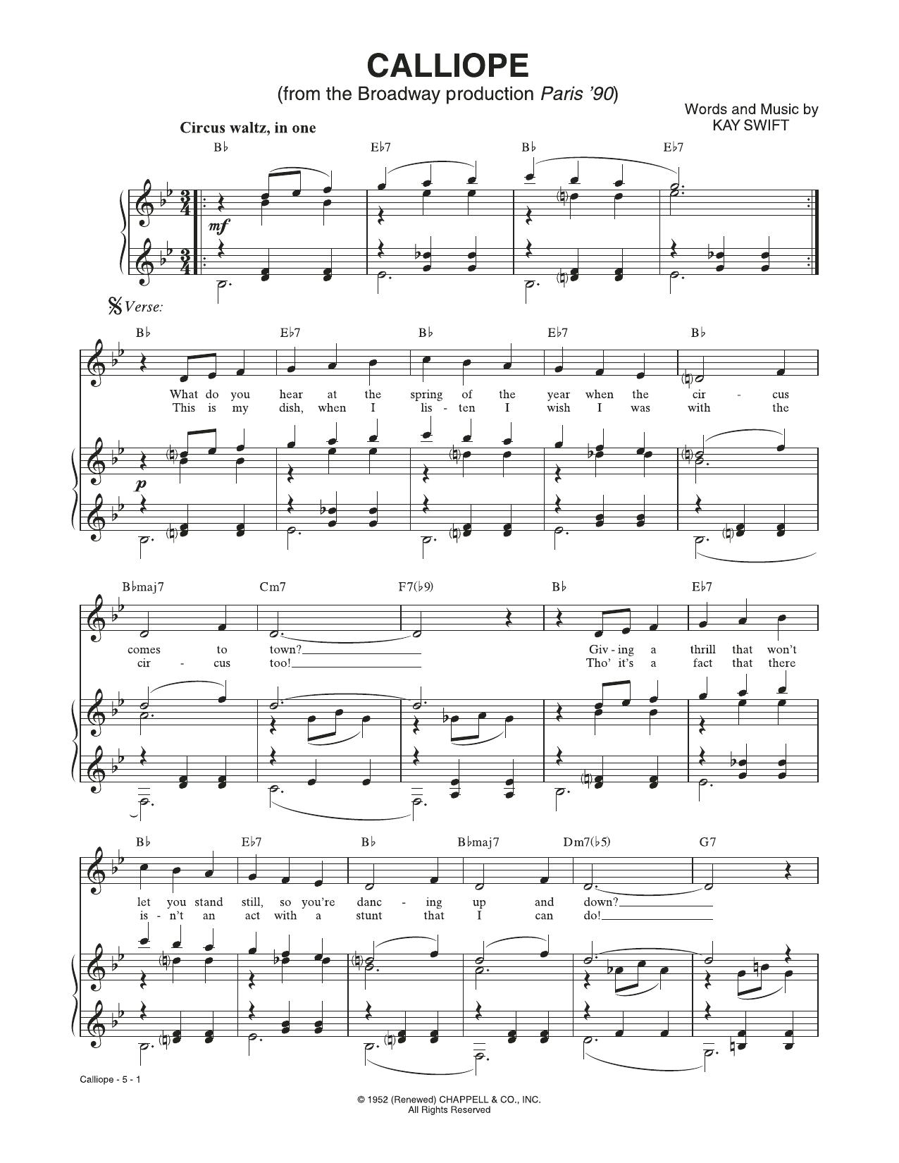 Calliope (from Paris '90) (Piano & Vocal)