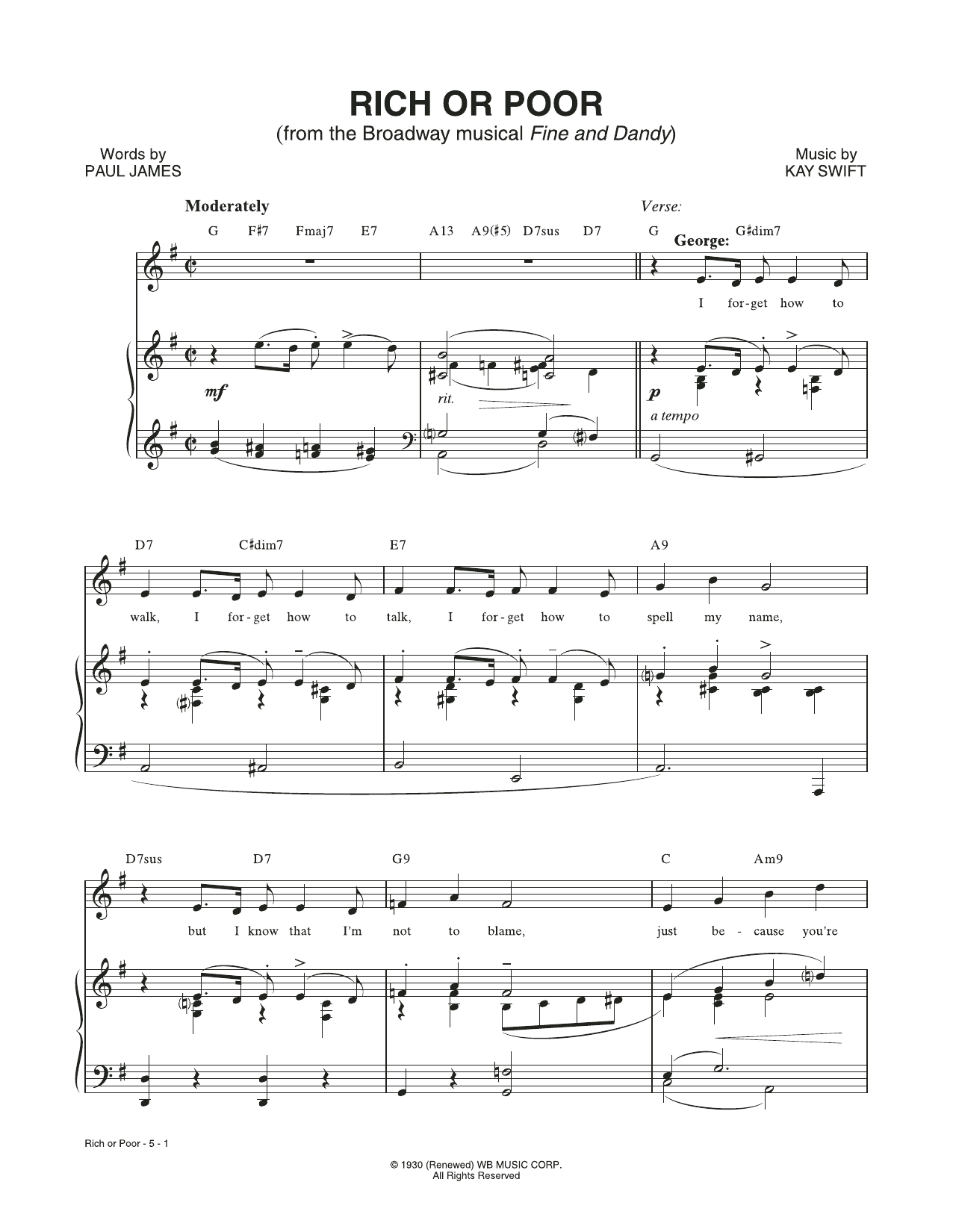 Rich Or Poor (from the musical Fine and Dandy) Sheet Music