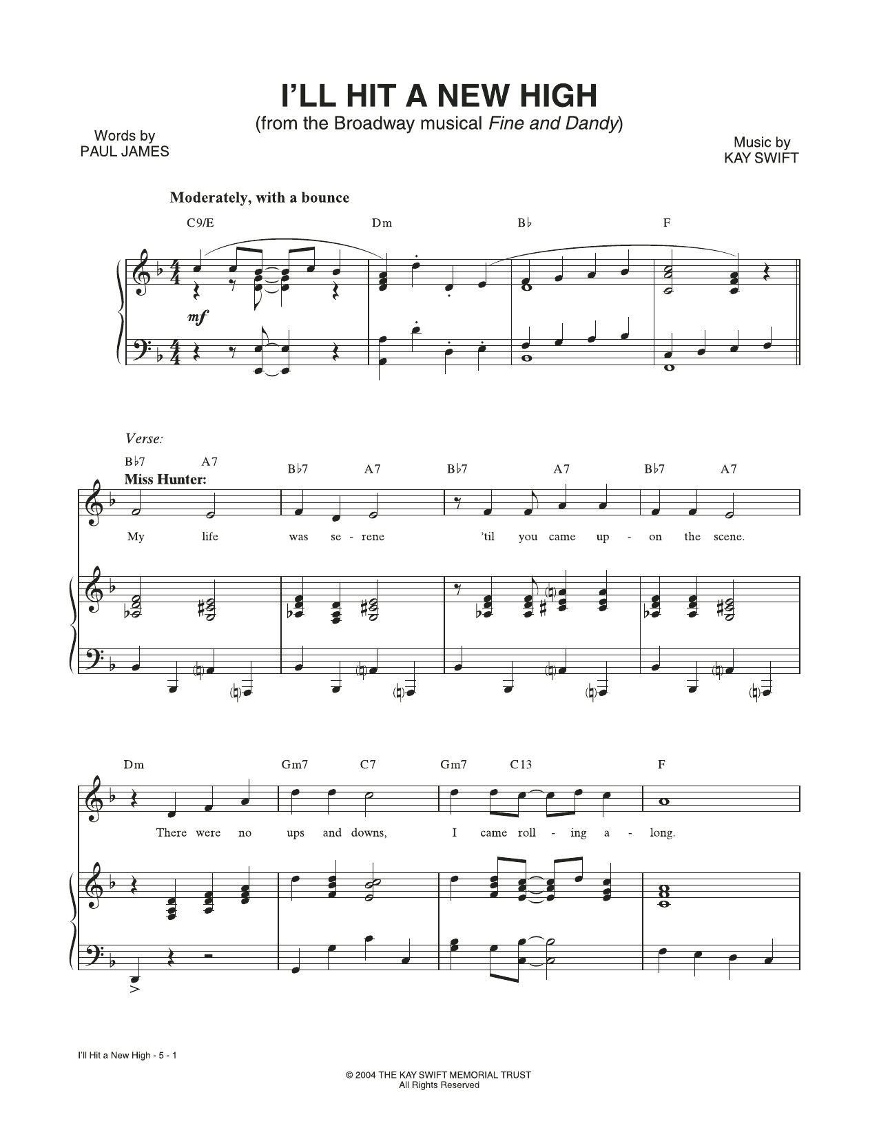 I'll Hit A New High (from the musical Fine and Dandy) (Piano & Vocal)