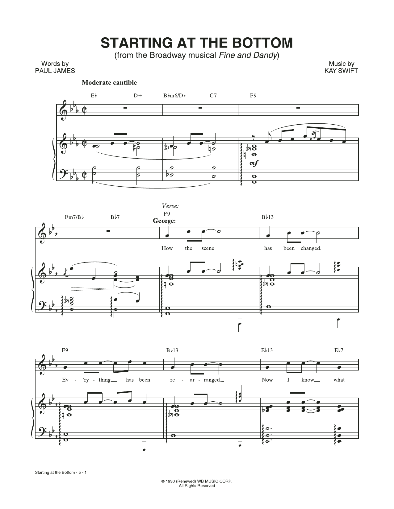 Starting At The Bottom (from the musical Fine and Dandy) Sheet Music