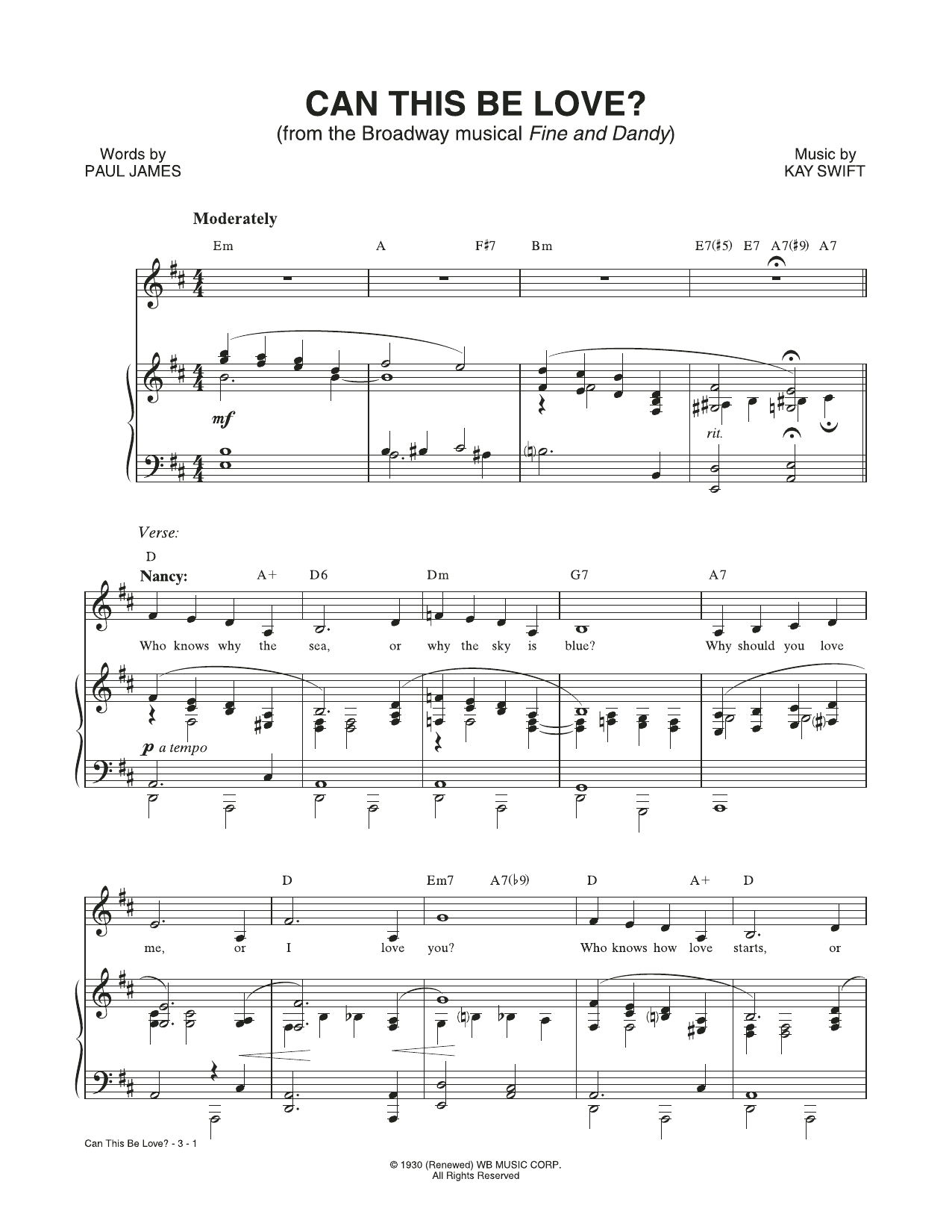 Can This Be Love? (from the musical Fine and Dandy) (Piano & Vocal)