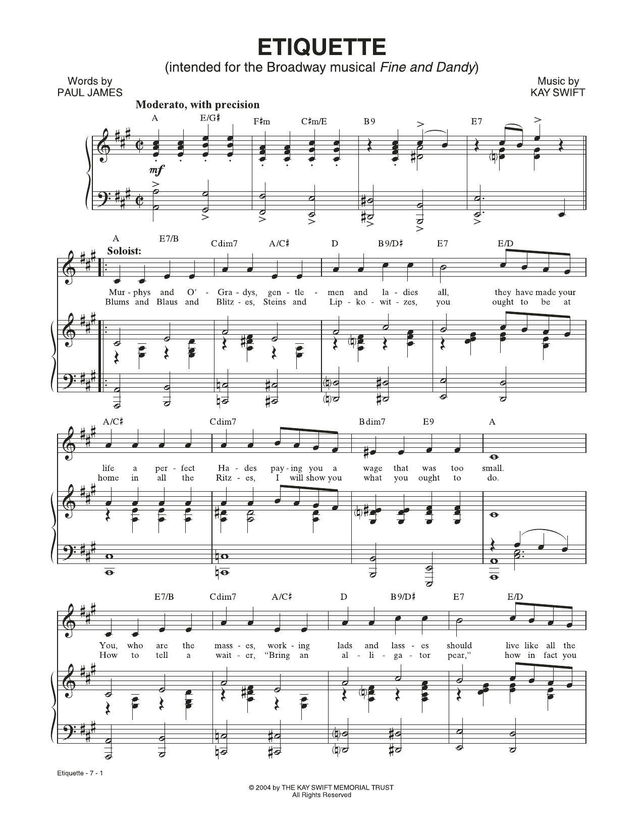 Etiquette (from the musical Fine and Dandy) (Piano & Vocal)