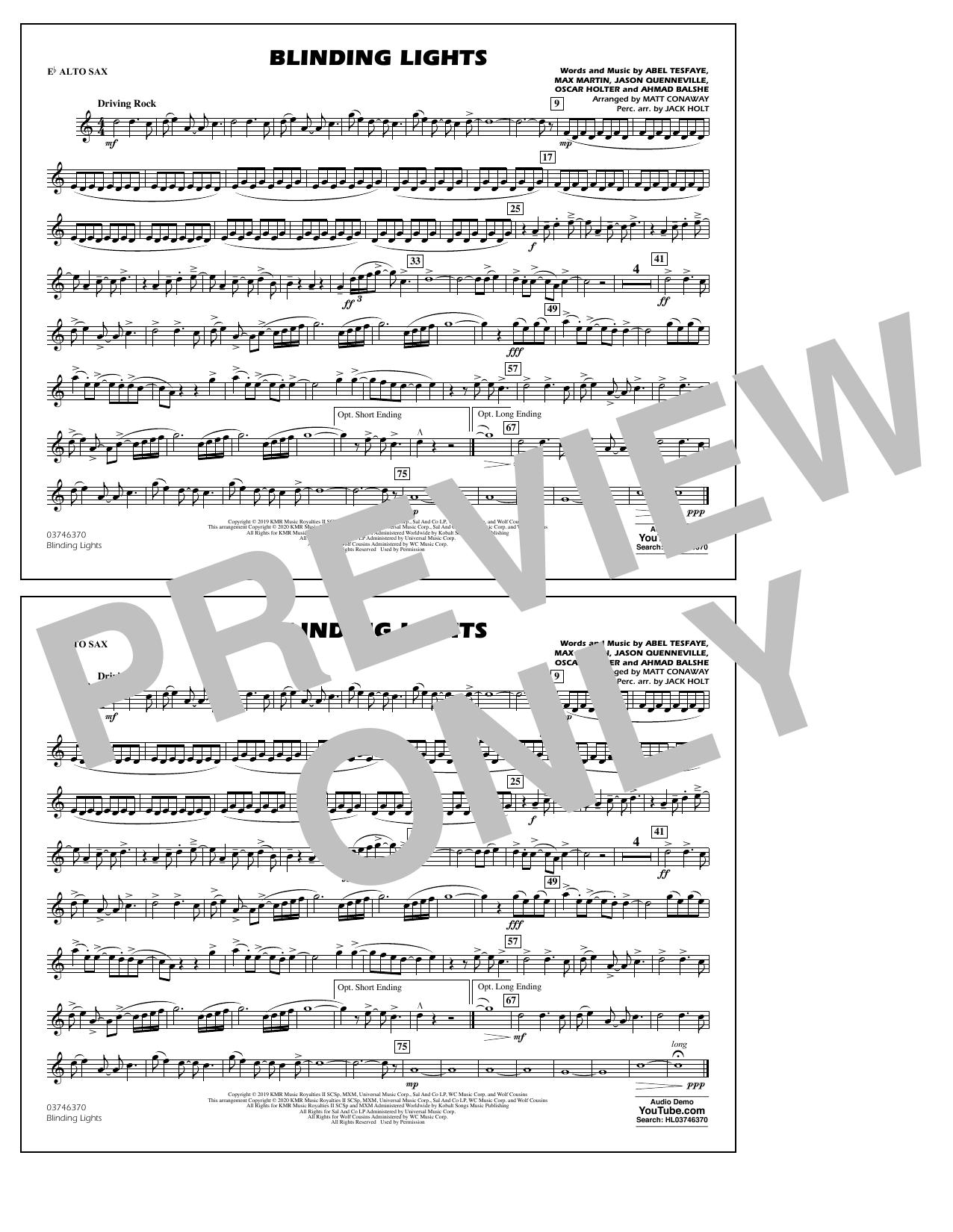 Blinding Lights (arr. Matt Conaway) - Eb Alto Sax Sheet Music