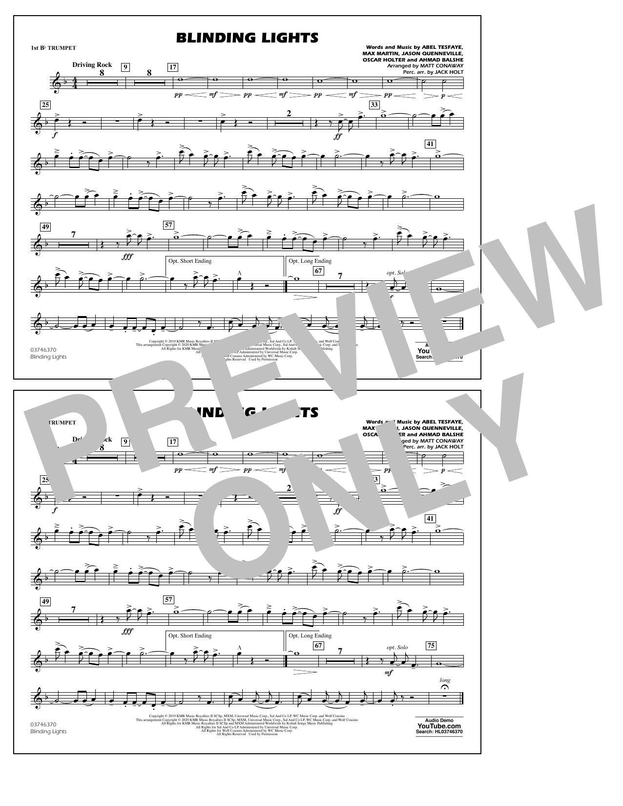 Blinding Lights (arr. Matt Conaway) - 1st Bb Trumpet Sheet Music