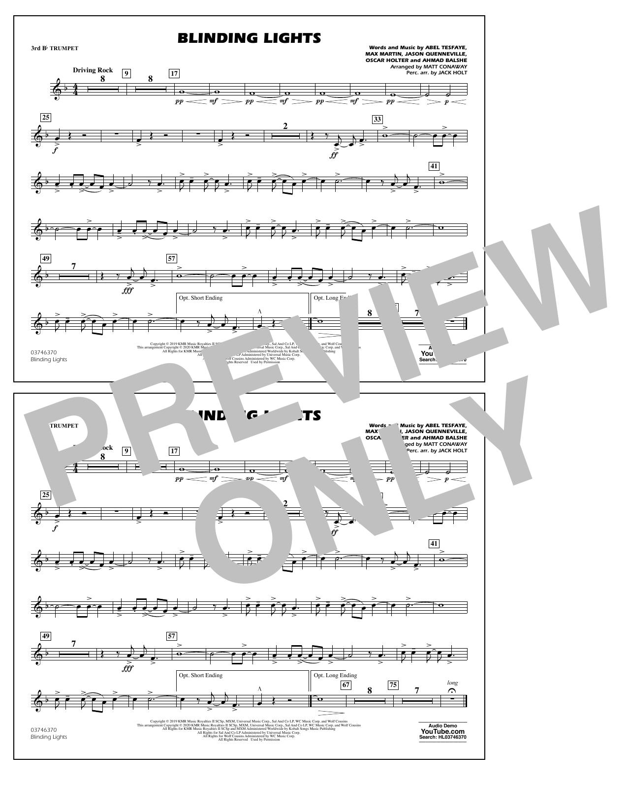 Blinding Lights (arr. Matt Conaway) - 3rd Bb Trumpet Sheet Music