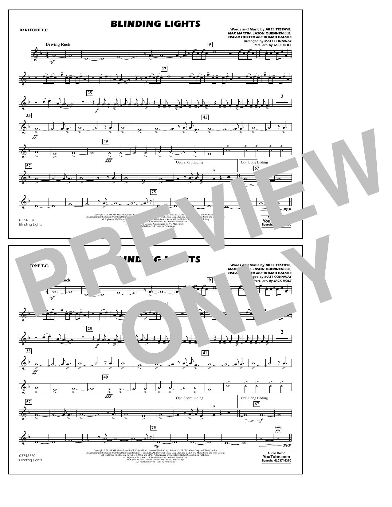 Blinding Lights (arr. Matt Conaway) - Baritone T.C. Sheet Music