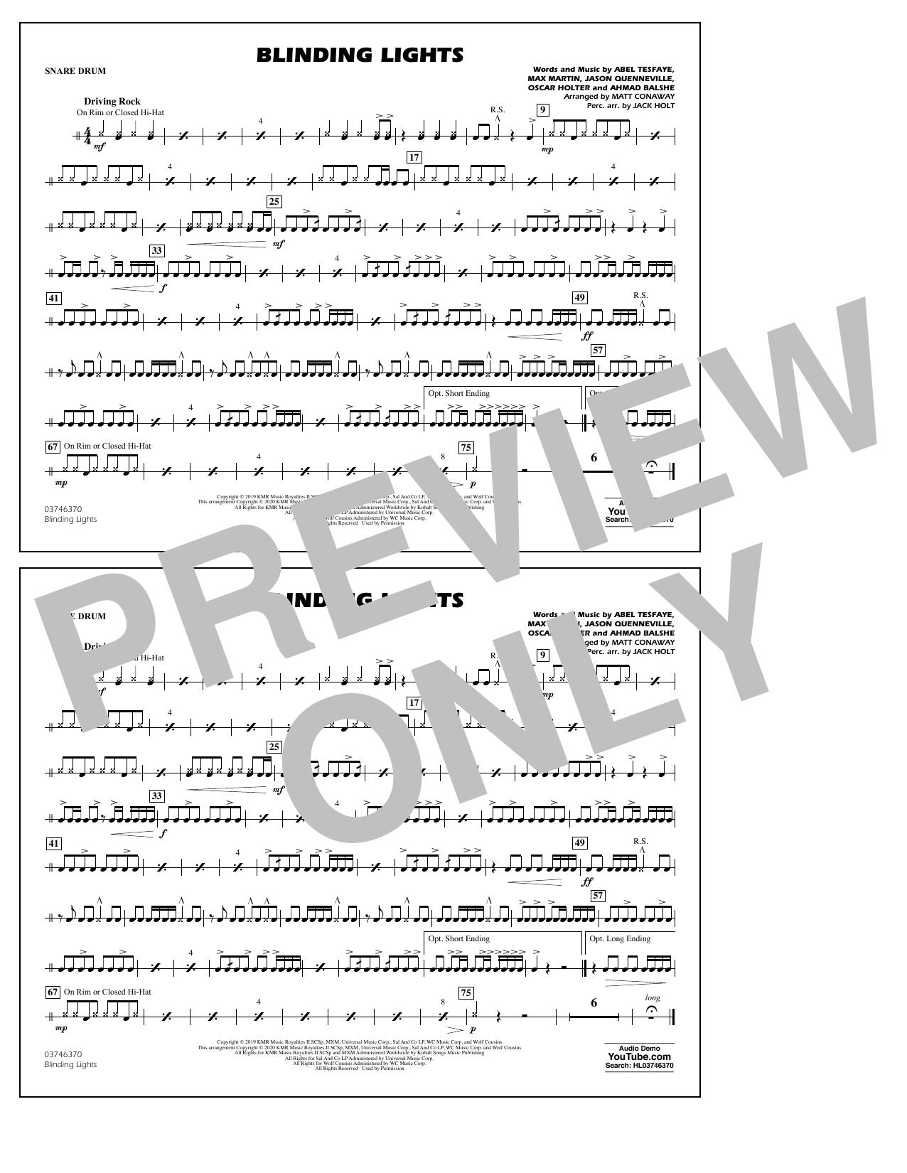 Blinding Lights (arr. Matt Conaway) - Snare Drum Sheet Music
