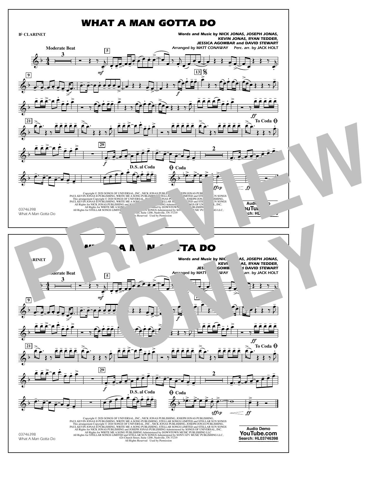 What a Man Gotta Do (arr. Jack Holt and Matt Conaway) - Bb Clarinet Sheet Music