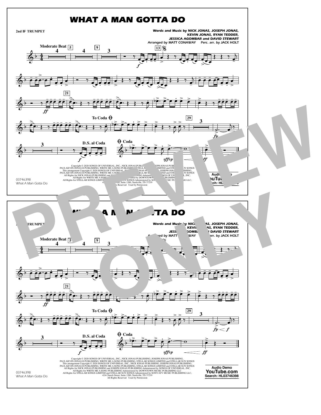 What a Man Gotta Do (arr. Jack Holt and Matt Conaway) - 2nd Bb Trumpet Sheet Music