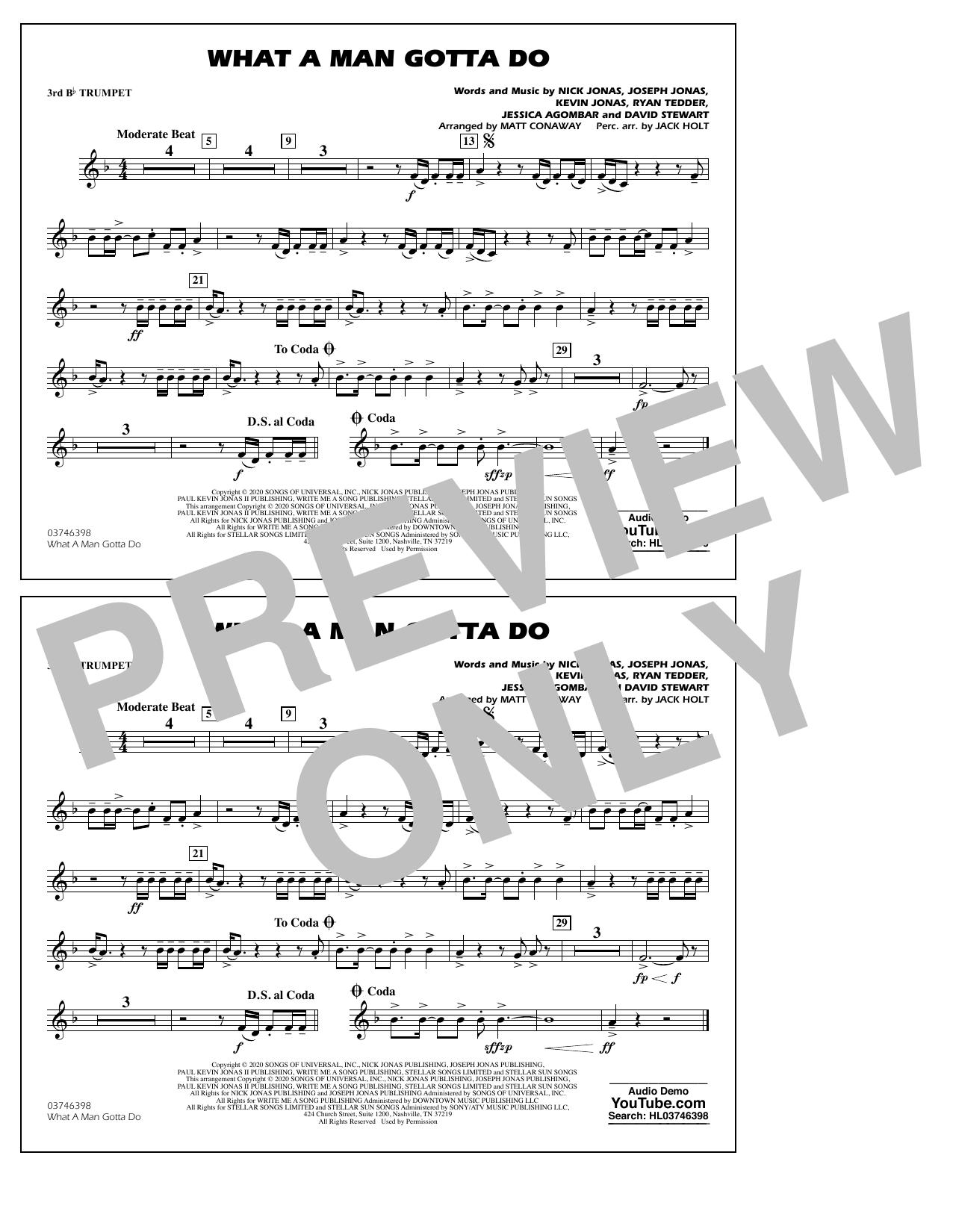 What a Man Gotta Do (arr. Jack Holt and Matt Conaway) - 3rd Bb Trumpet Sheet Music