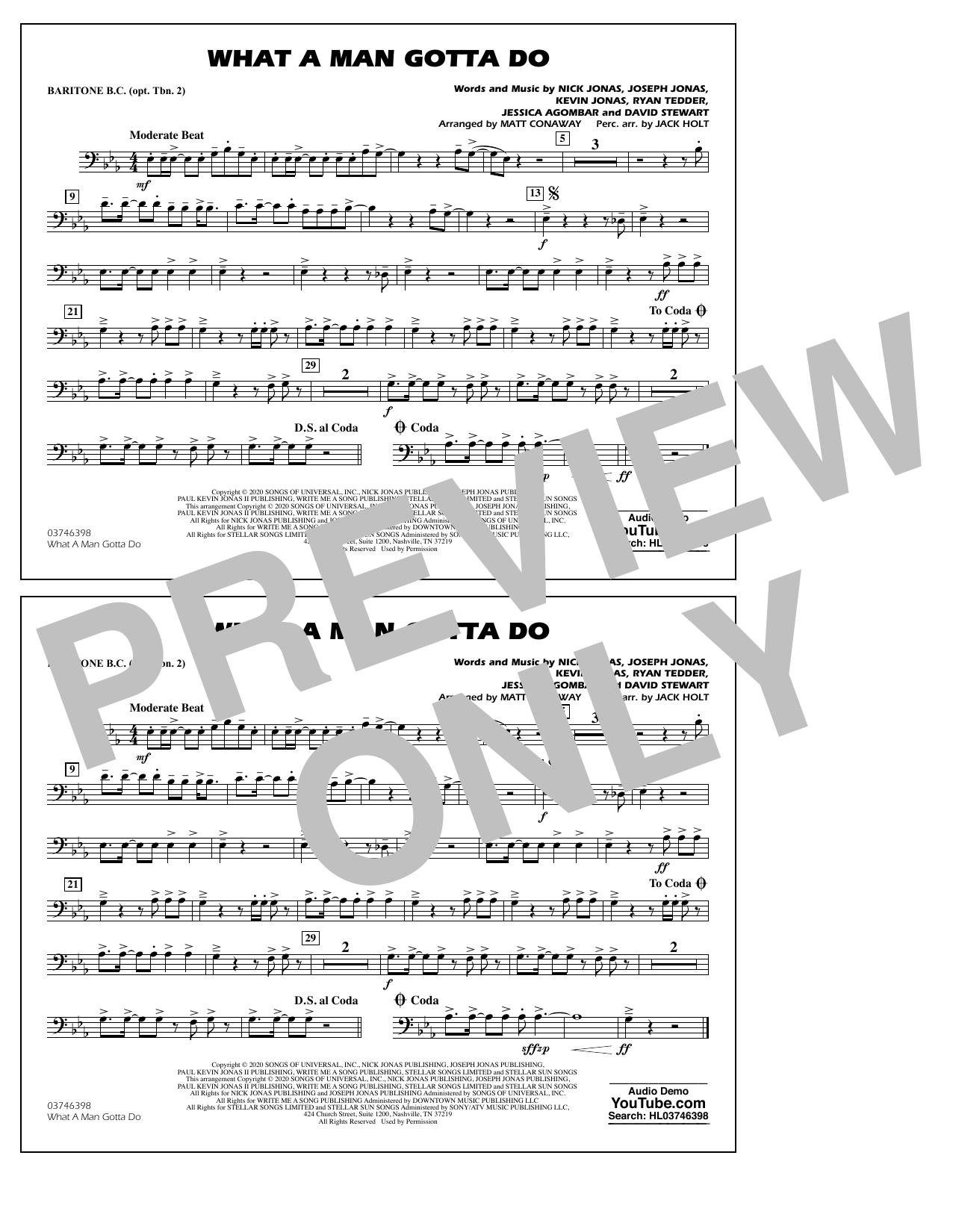 What a Man Gotta Do (arr. Jack Holt and Matt Conaway) - Baritone B.C. Sheet Music