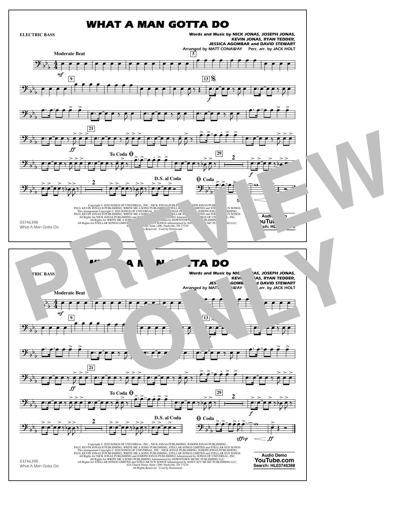 What a Man Gotta Do (arr. Jack Holt and Matt Conaway) - Electric Bass Sheet Music