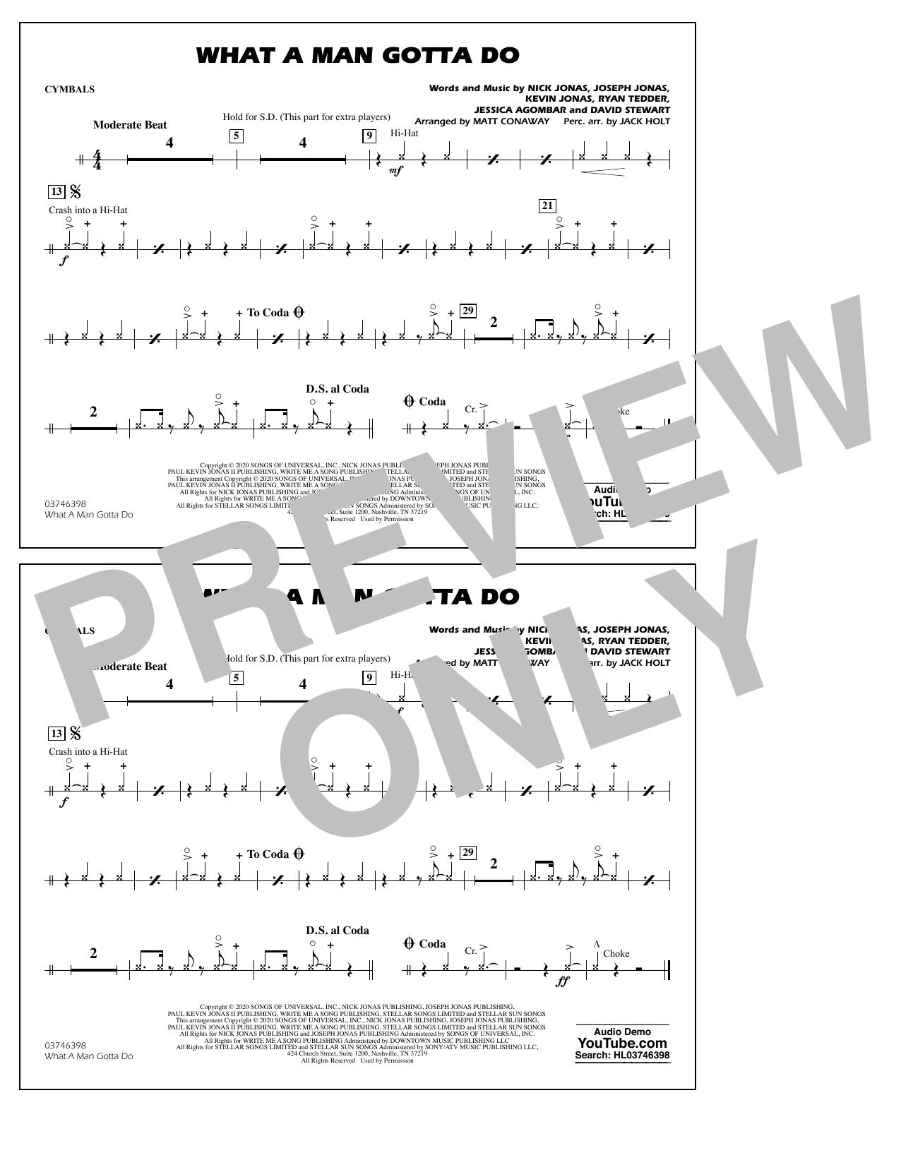 What a Man Gotta Do (arr. Jack Holt and Matt Conaway) - Cymbals Sheet Music
