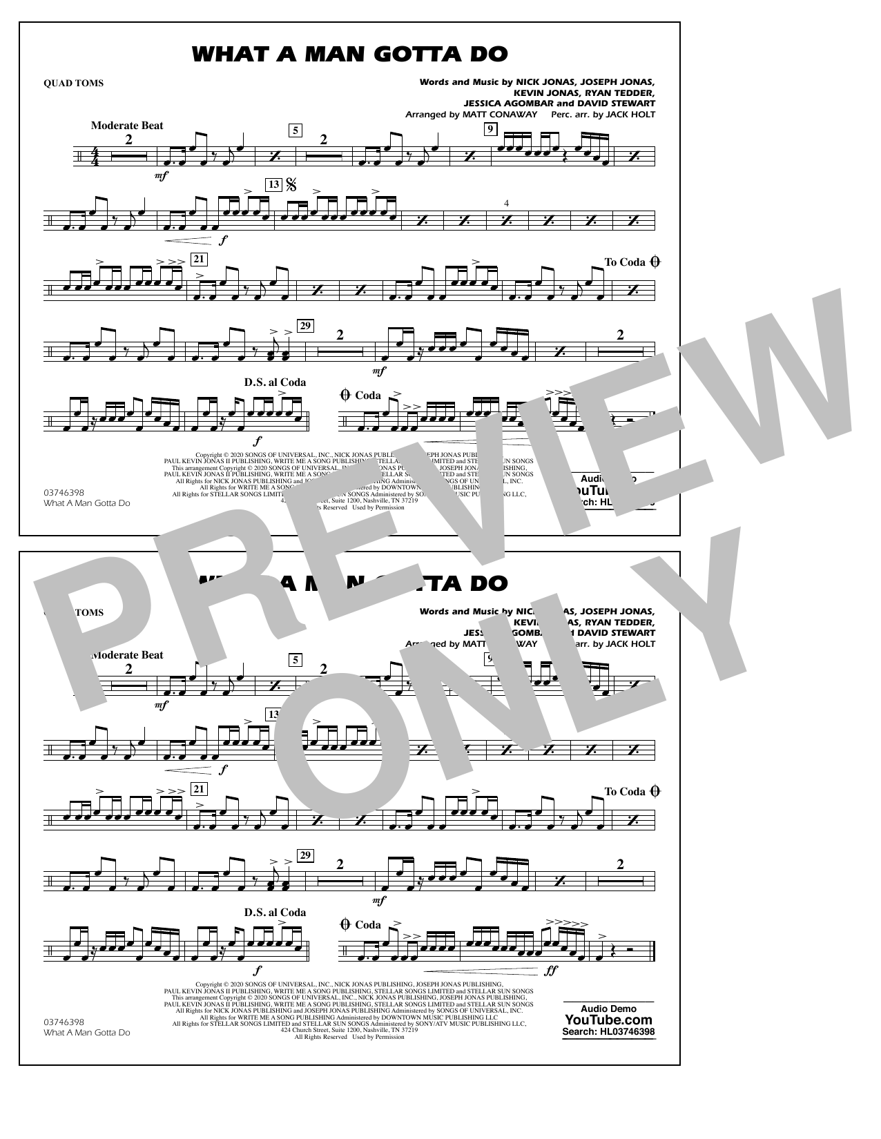 What a Man Gotta Do (arr. Jack Holt and Matt Conaway) - Quad Toms Sheet Music