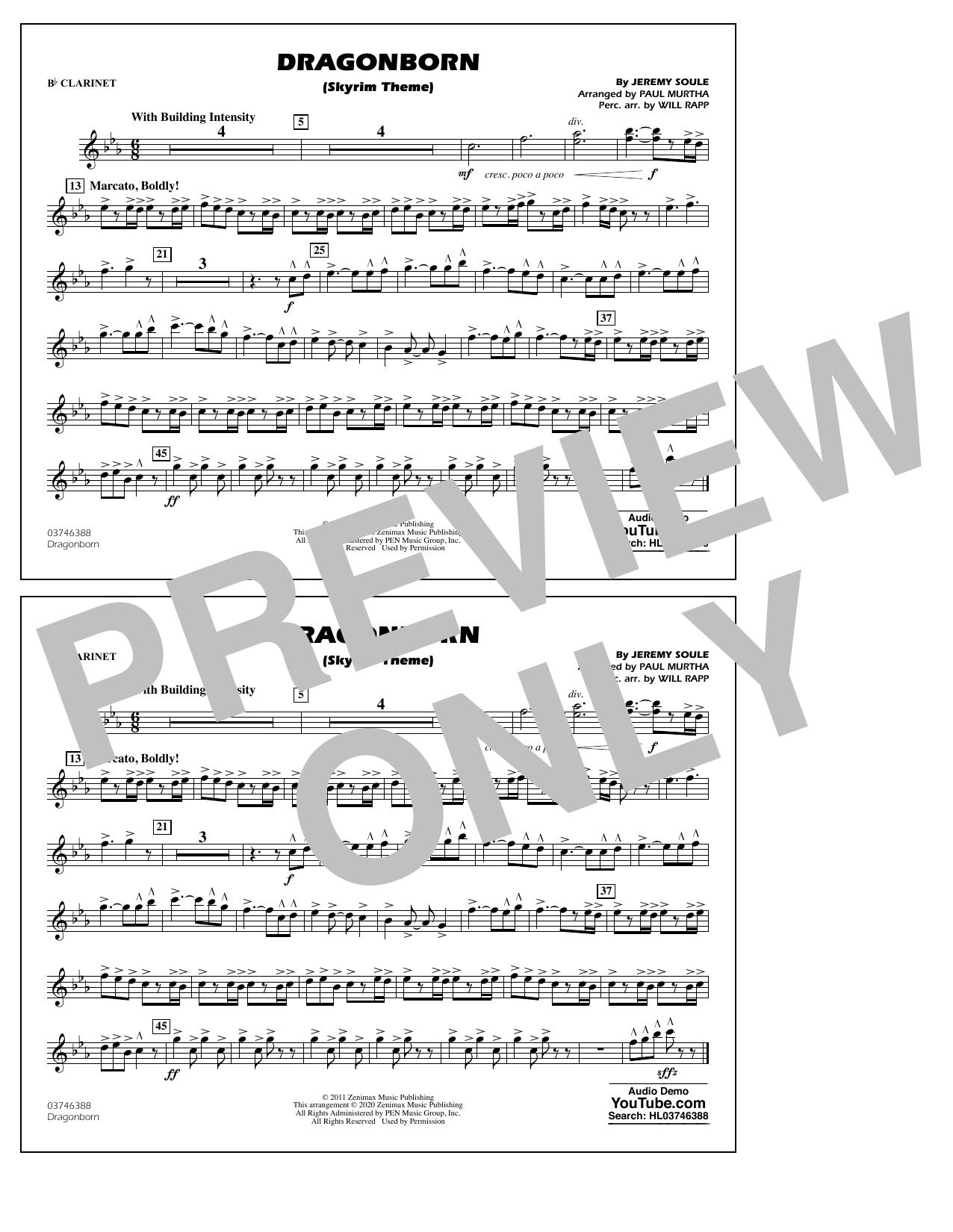 Dragonborn (Skyrim Theme) (arr. Will Rapp & Paul Murtha) - Bb Clarinet Sheet Music