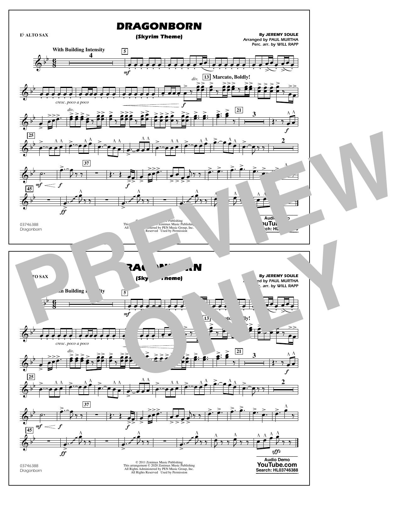 Dragonborn (Skyrim Theme) (arr. Will Rapp & Paul Murtha) - Eb Alto Sax Sheet Music