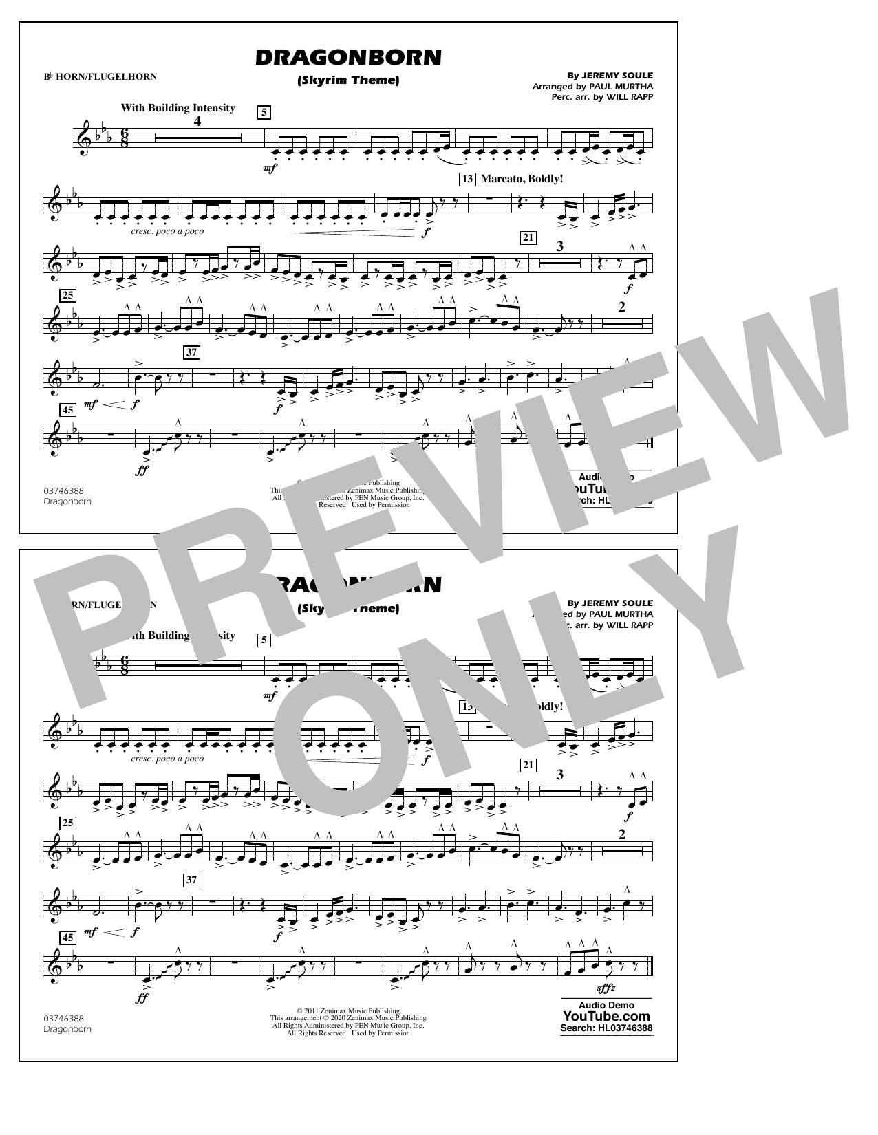 Dragonborn (Skyrim Theme) (arr. Will Rapp & Paul Murtha) - Bb Horn/Flugelhorn Sheet Music