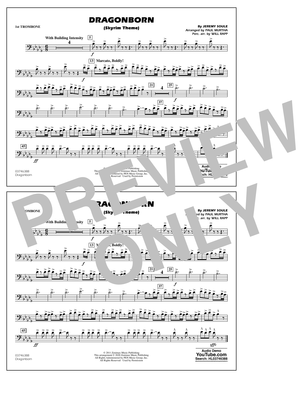 Dragonborn (Skyrim Theme) (arr. Will Rapp & Paul Murtha) - 1st Trombone Sheet Music