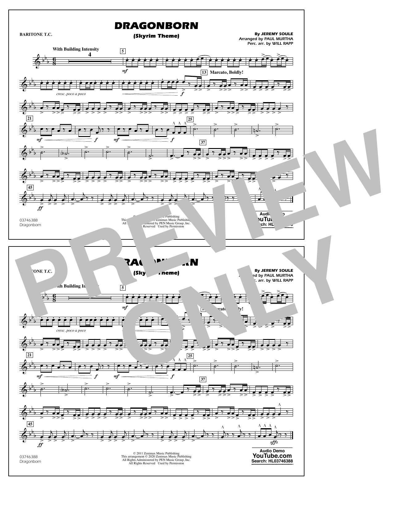 Dragonborn (Skyrim Theme) (arr. Will Rapp & Paul Murtha) - Baritone T.C. Sheet Music