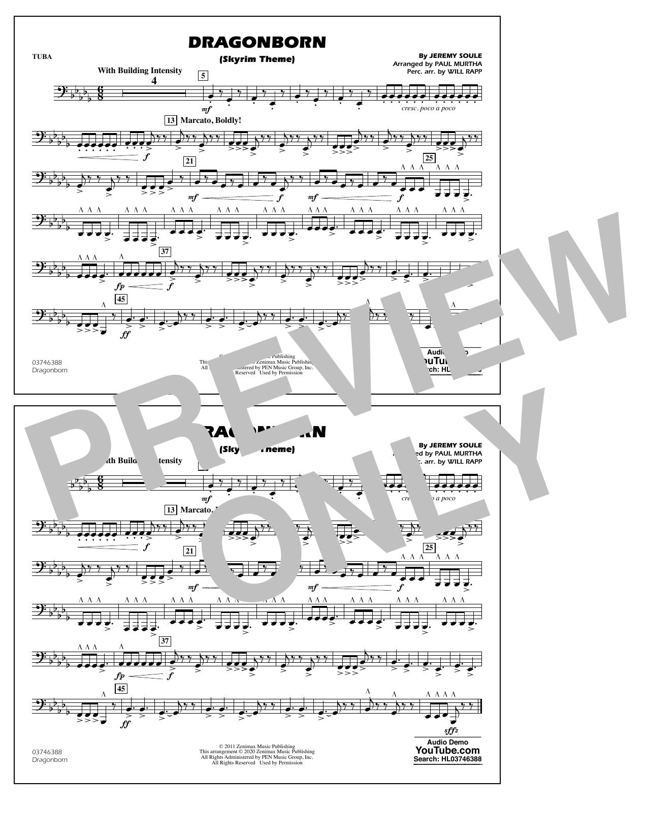 Dragonborn (Skyrim Theme) (arr. Will Rapp & Paul Murtha) - Tuba Sheet Music