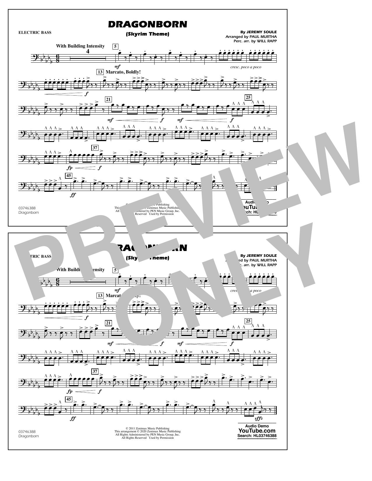 Dragonborn (Skyrim Theme) (arr. Will Rapp & Paul Murtha) - Electric Bass Sheet Music