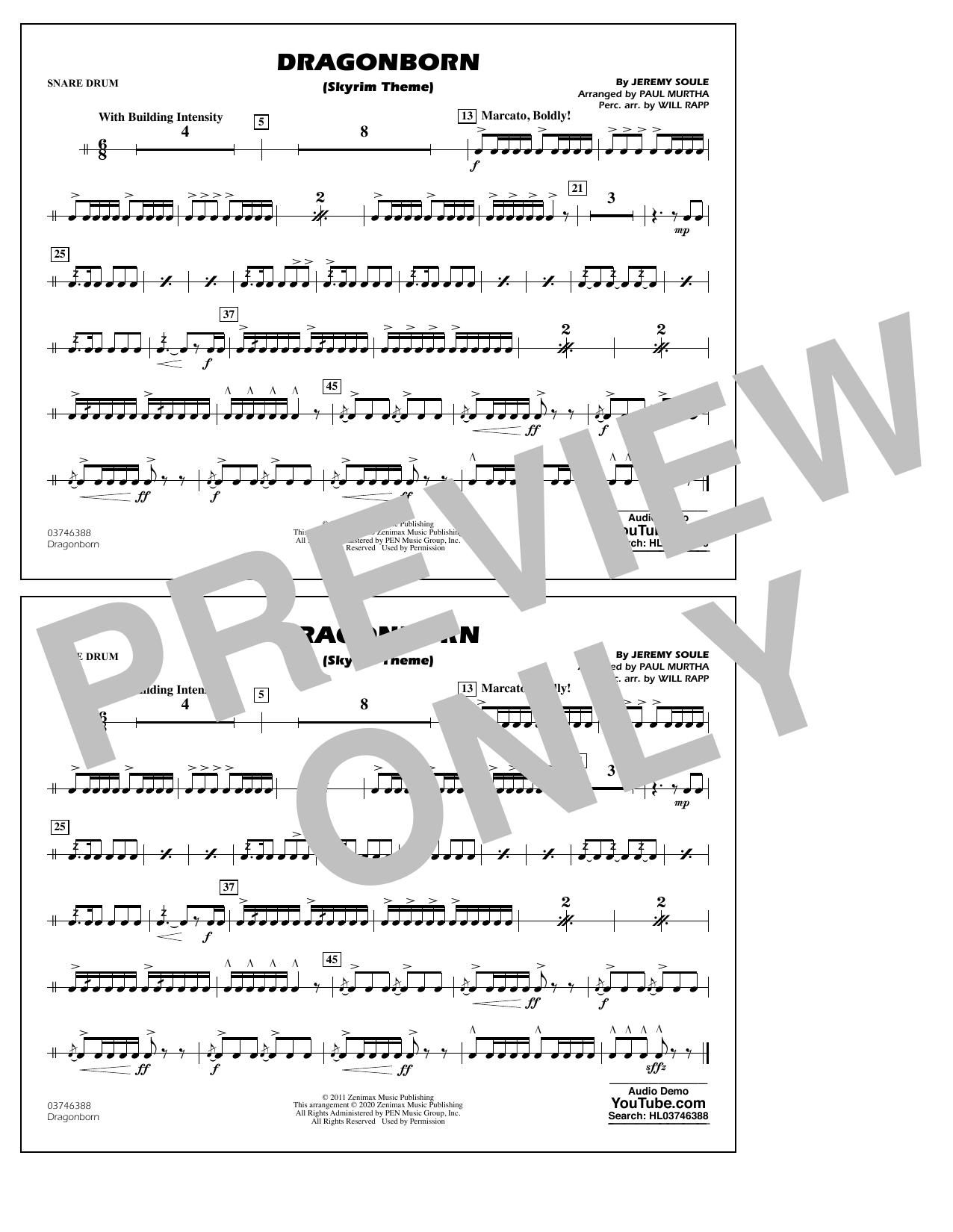 Dragonborn (Skyrim Theme) (arr. Will Rapp & Paul Murtha) - Snare Drum Sheet Music