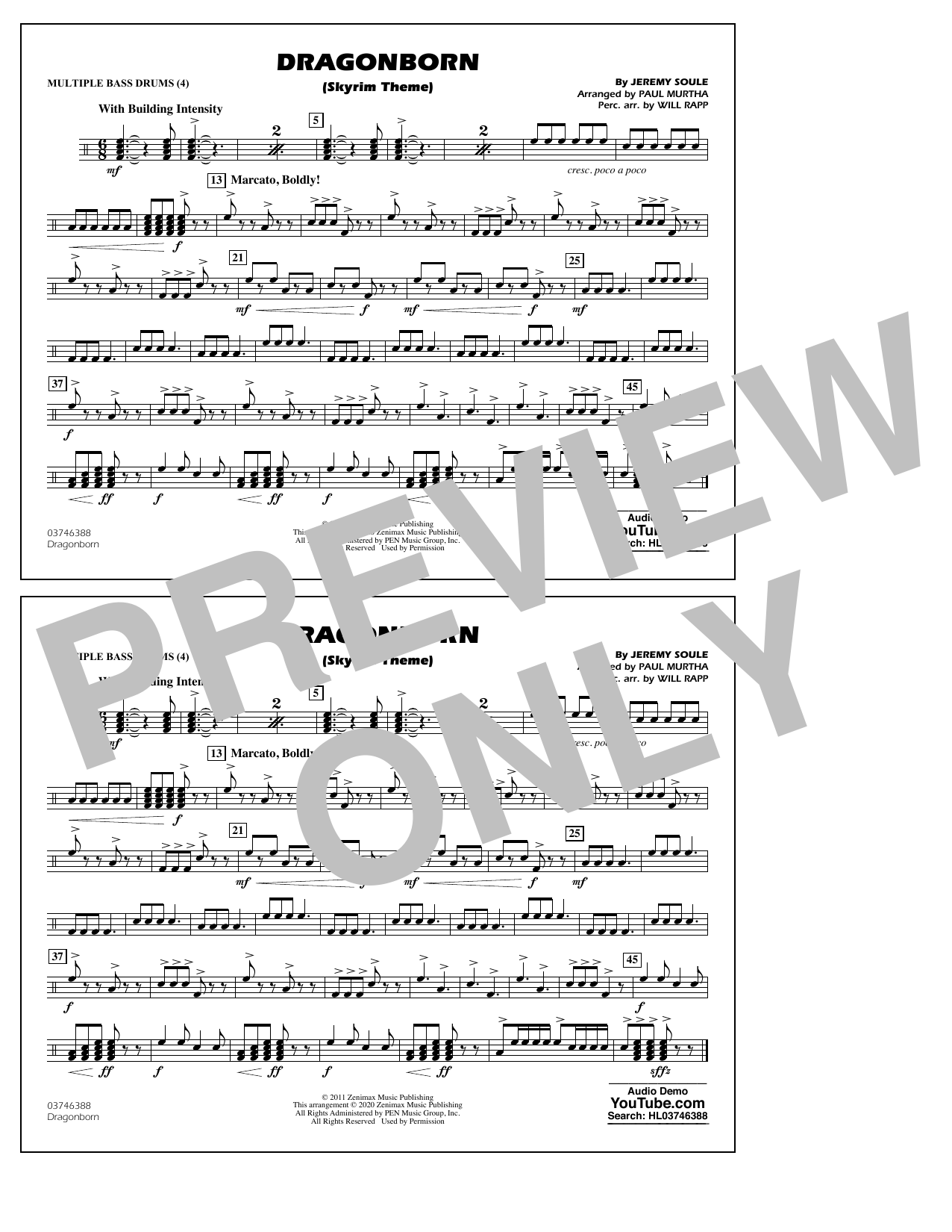 Dragonborn (Skyrim Theme) (arr. Will Rapp & Paul Murtha) - Multiple Bass Drums Sheet Music