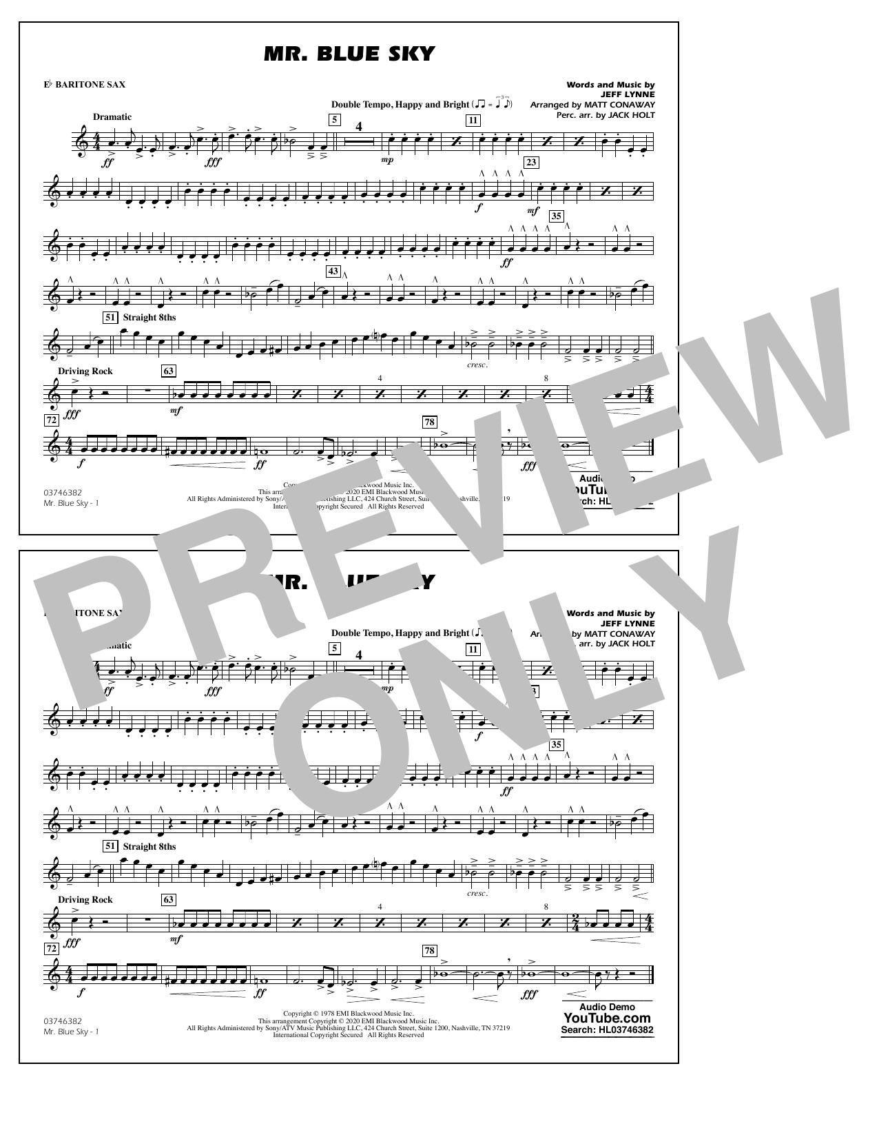 Mr. Blue Sky (arr. Matt Conaway) - Eb Baritone Sax Sheet Music