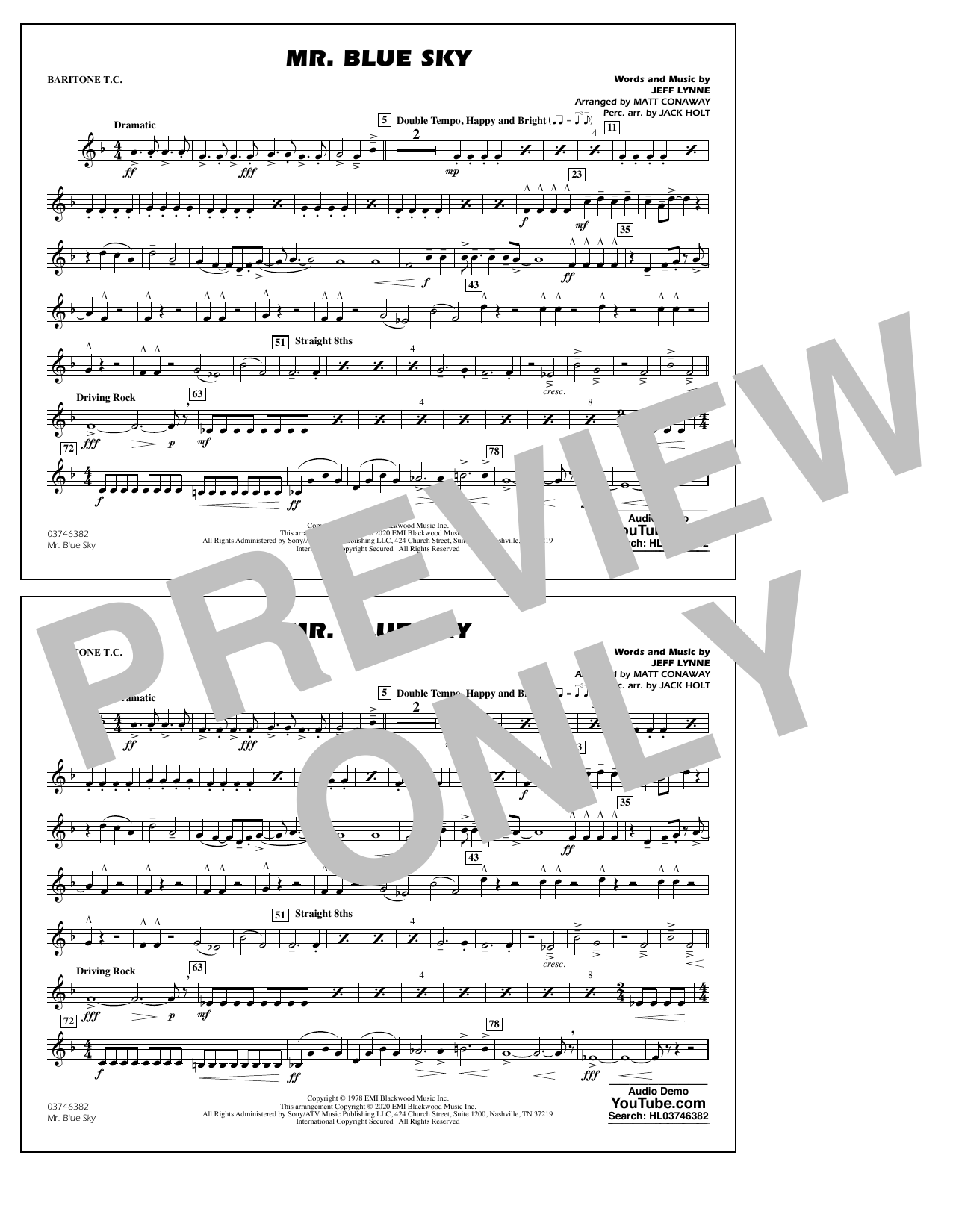 Mr. Blue Sky (arr. Matt Conaway) - Baritone T.C. Sheet Music