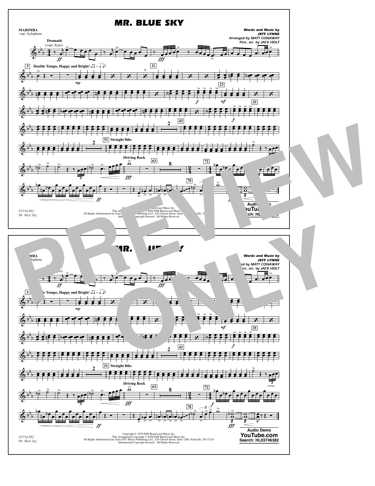 Mr. Blue Sky (arr. Matt Conaway) - Marimba Sheet Music