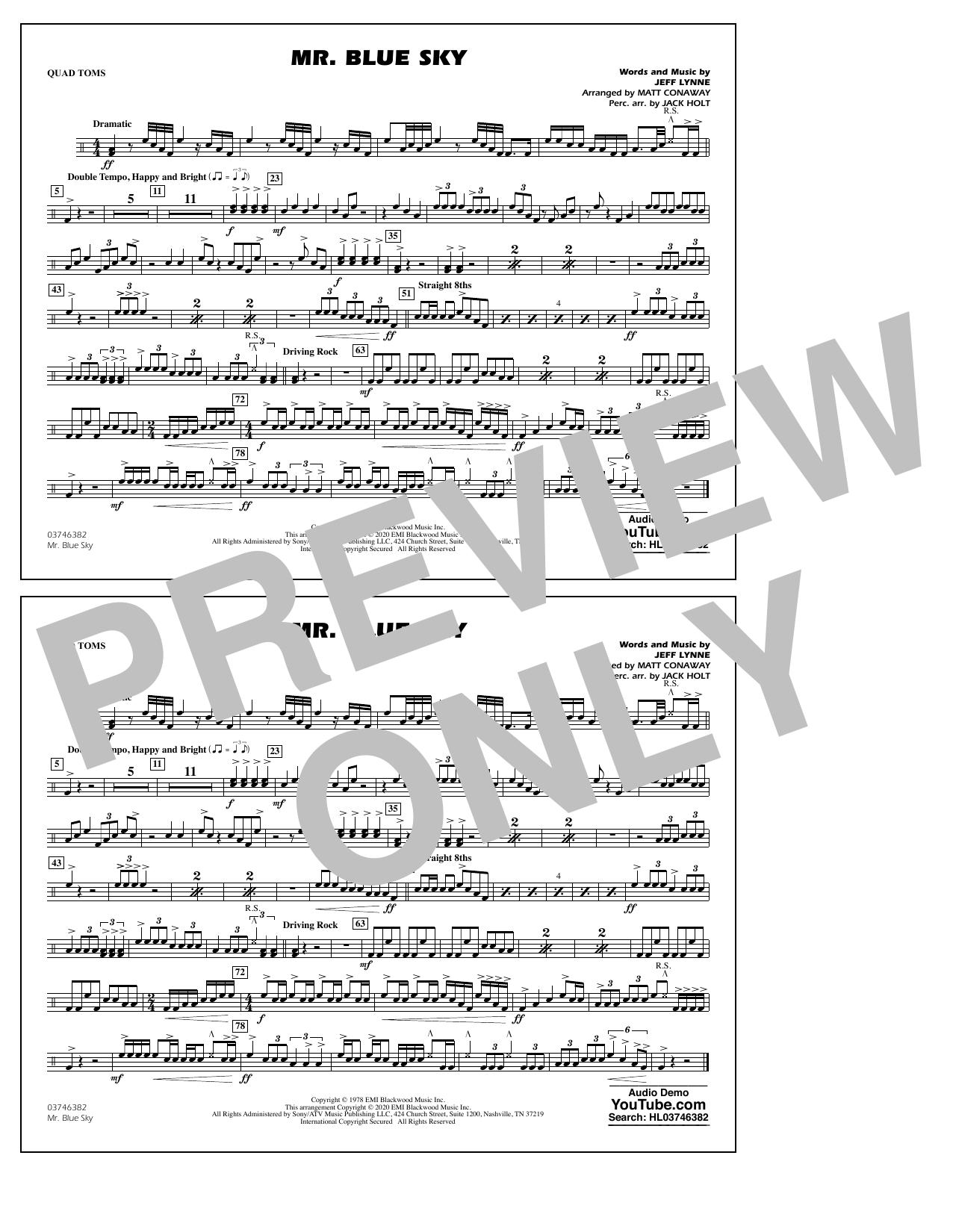 Mr. Blue Sky (arr. Matt Conaway) - Quad Toms Sheet Music