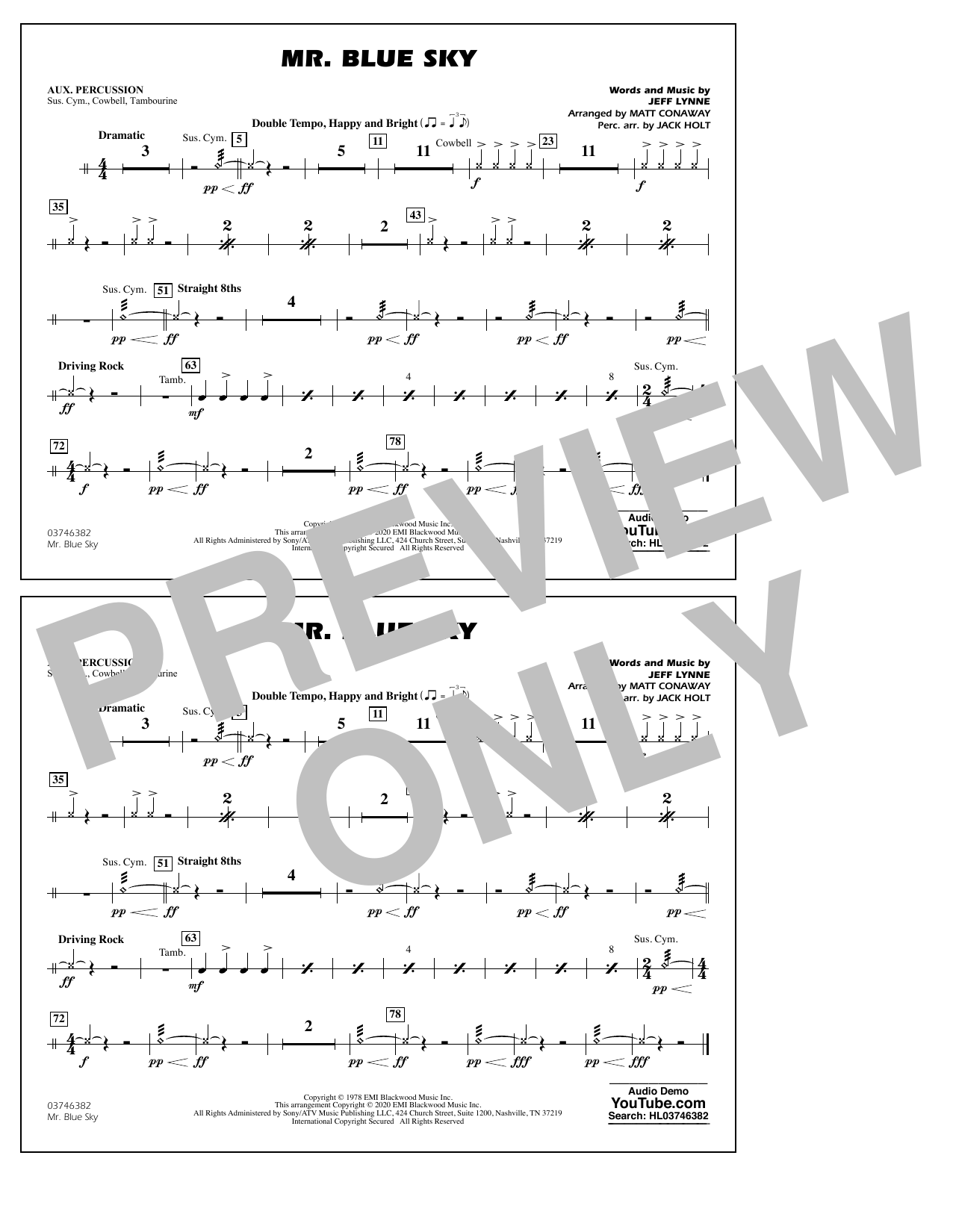 Mr. Blue Sky (arr. Matt Conaway) - Aux Percussion Digitale Noten