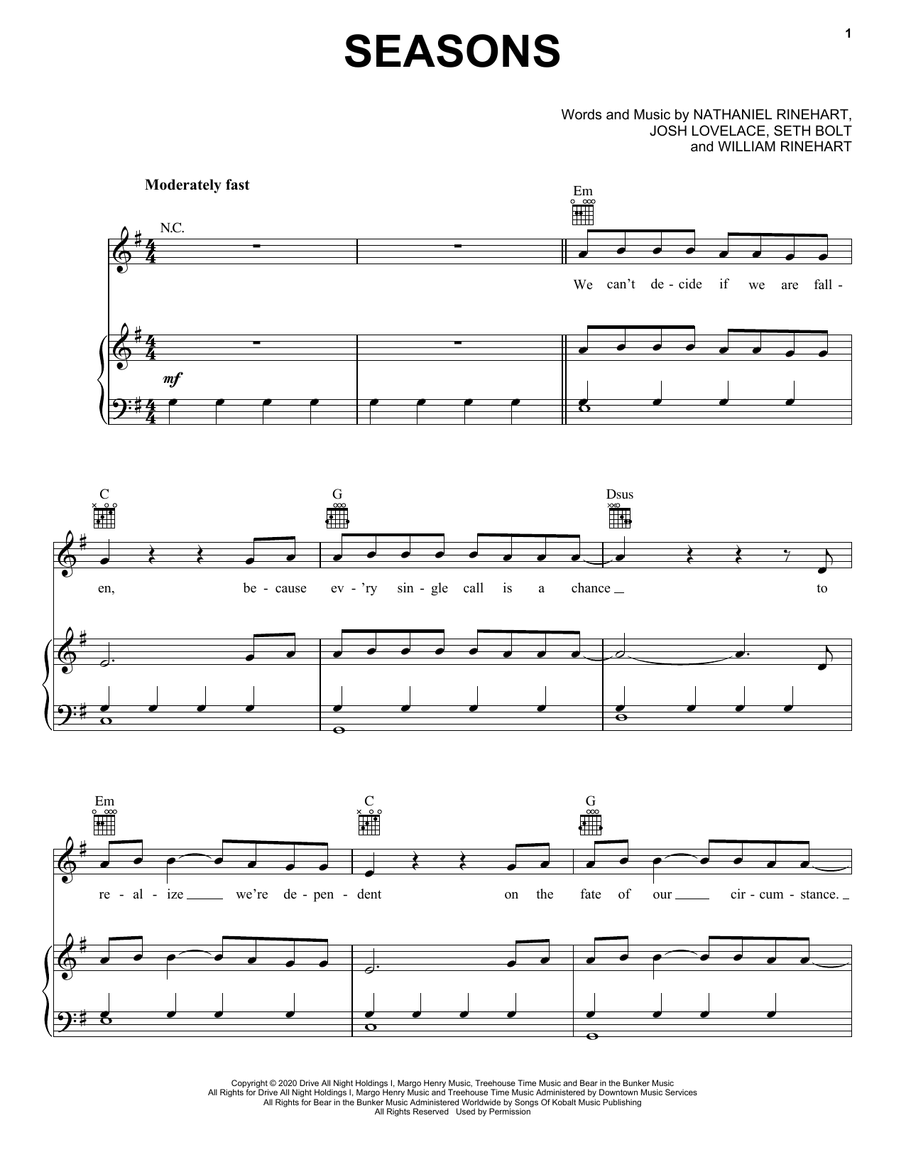 Seasons (Piano, Vocal & Guitar (Right-Hand Melody))