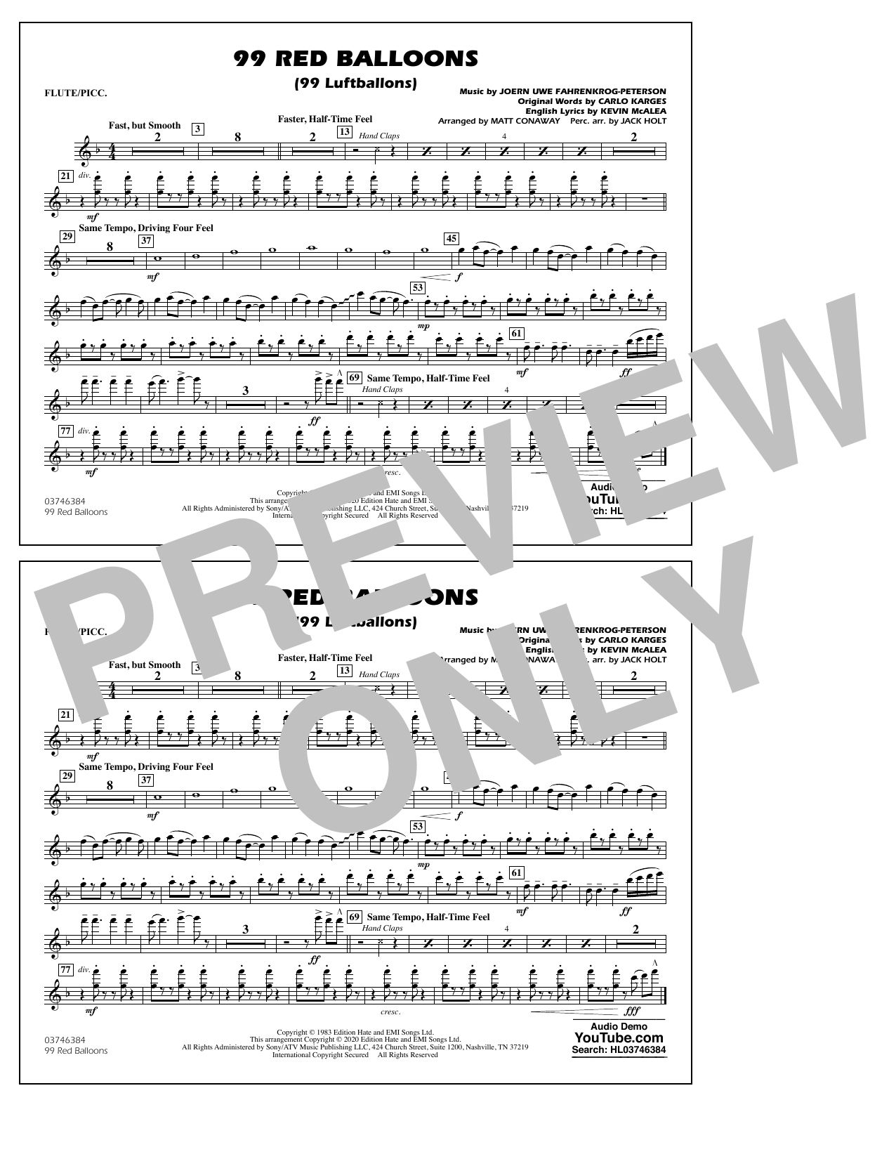 99 Red Balloons (arr. Holt and Conaway) - Flute/Piccolo Digitale Noten