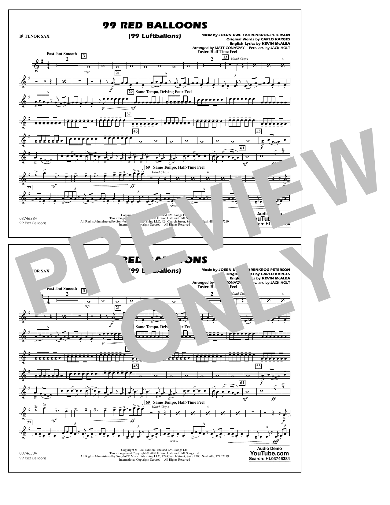 99 Red Balloons (arr. Holt and Conaway) - Bb Tenor Sax Sheet Music