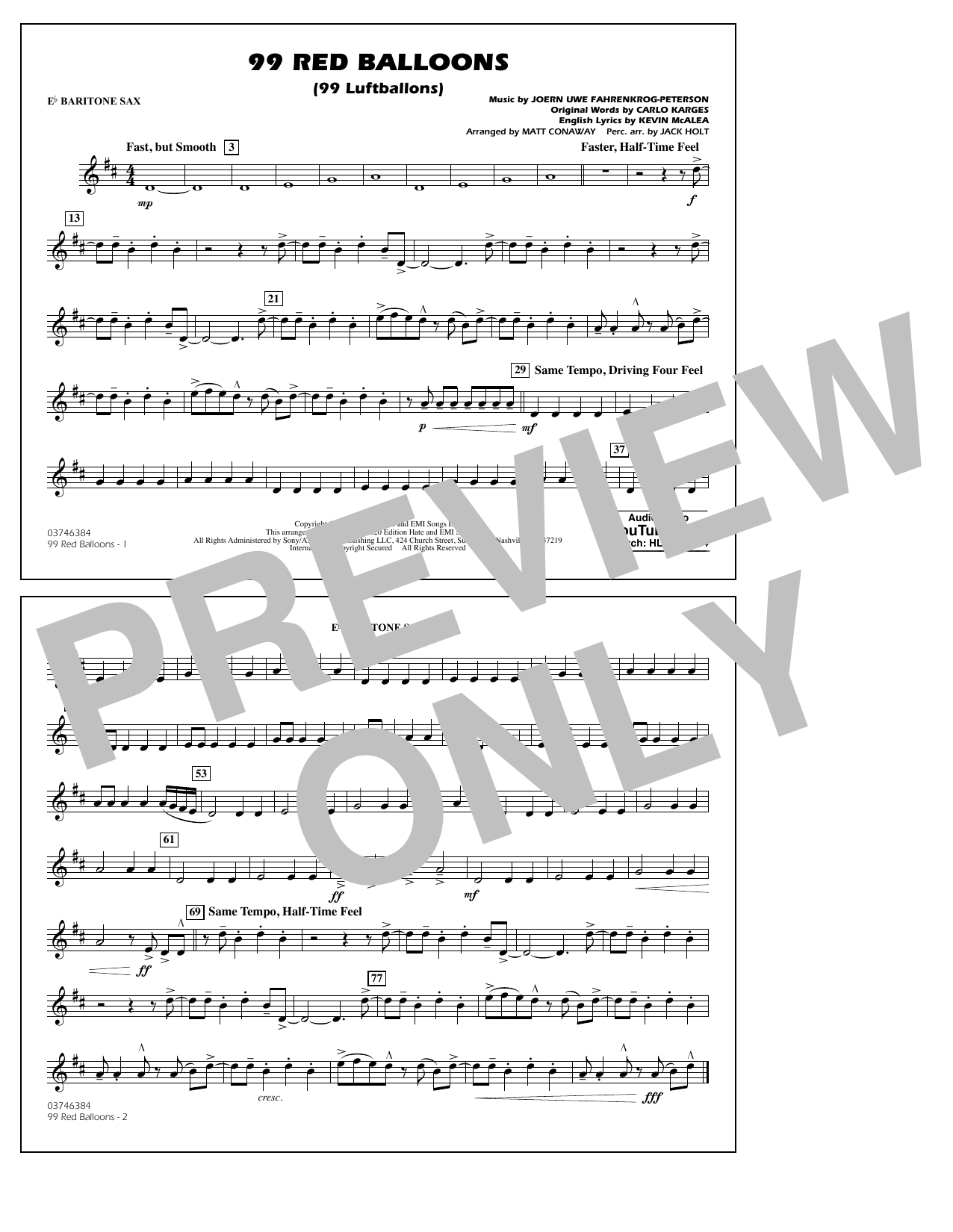 99 Red Balloons (arr. Holt and Conaway) - Eb Baritone Sax Sheet Music